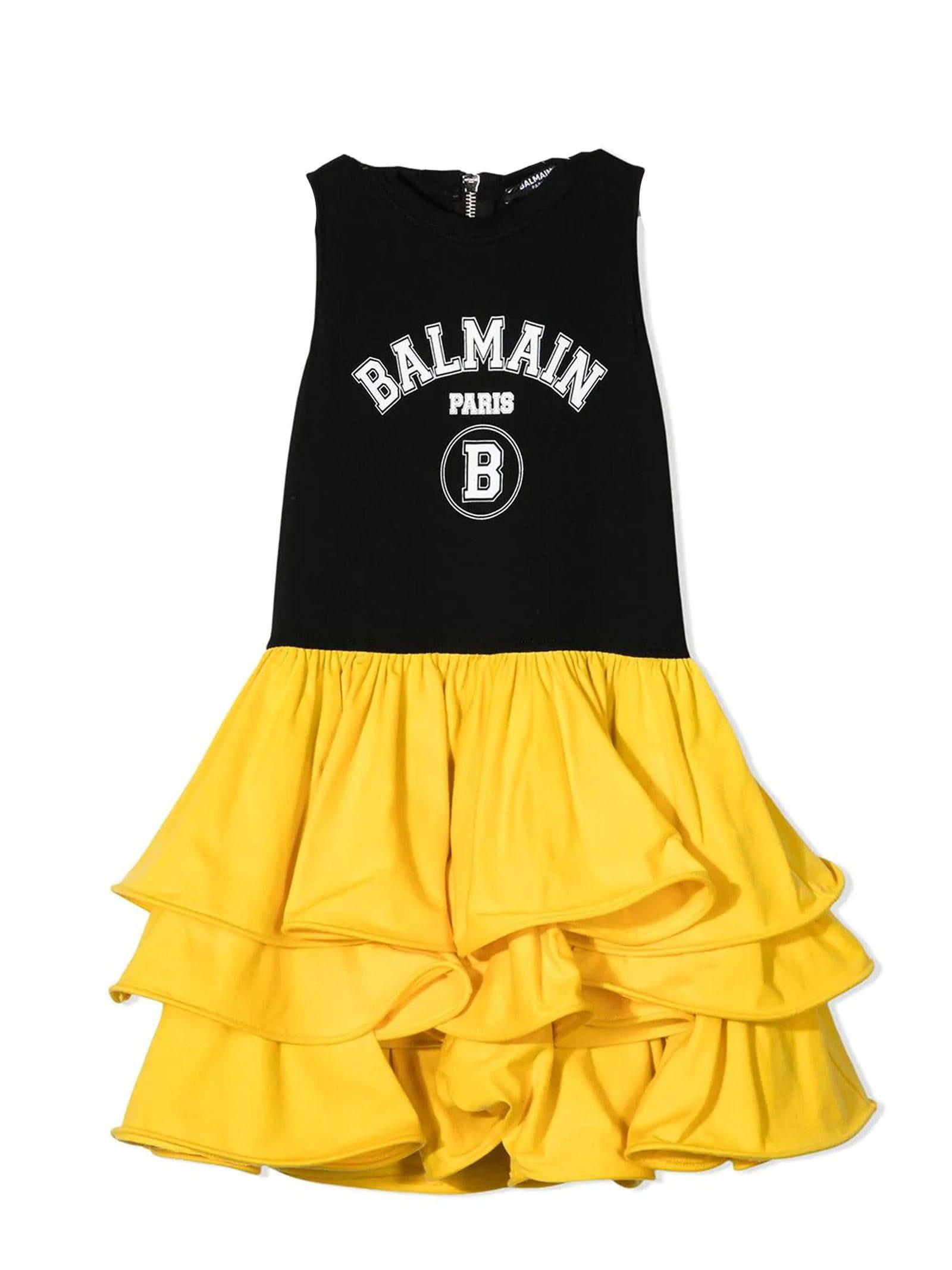 Balmain Cottons BLACK AND YELLOW COTTON DRESS