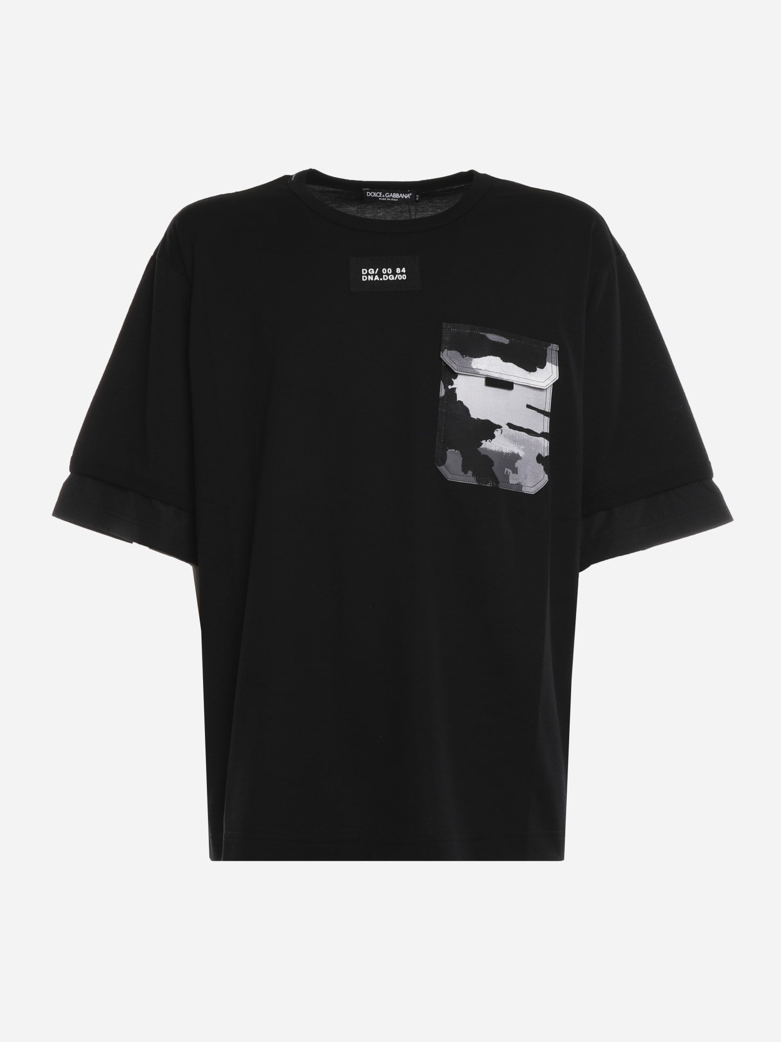 Dolce & Gabbana COTTON BLEND T-SHIRT WITH CAMOUFLAGE DETAIL
