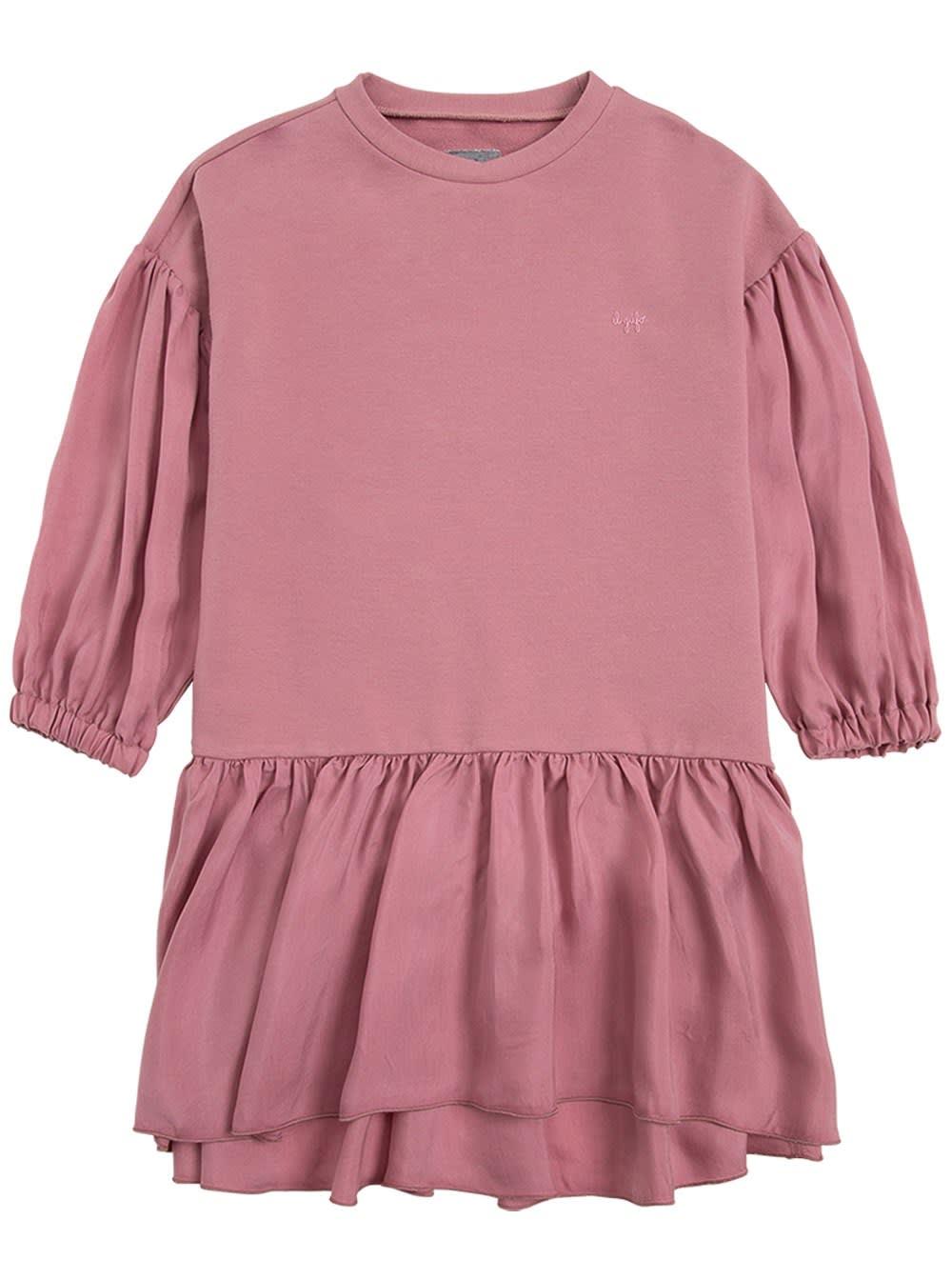 Organic Cotton Pink Dress With Flounces