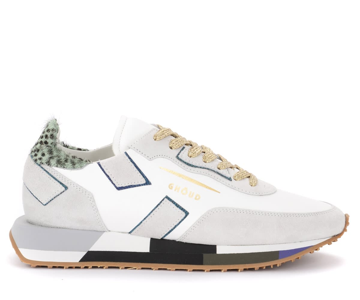 Ghoud GHOUD SNEAKER RUSH MODEL IN WHITE LEATHER AND GRAY SUEDE