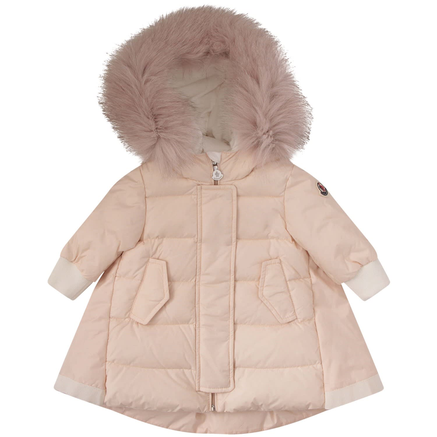 Moncler Babies' Pink Jacket With Iconic Logo