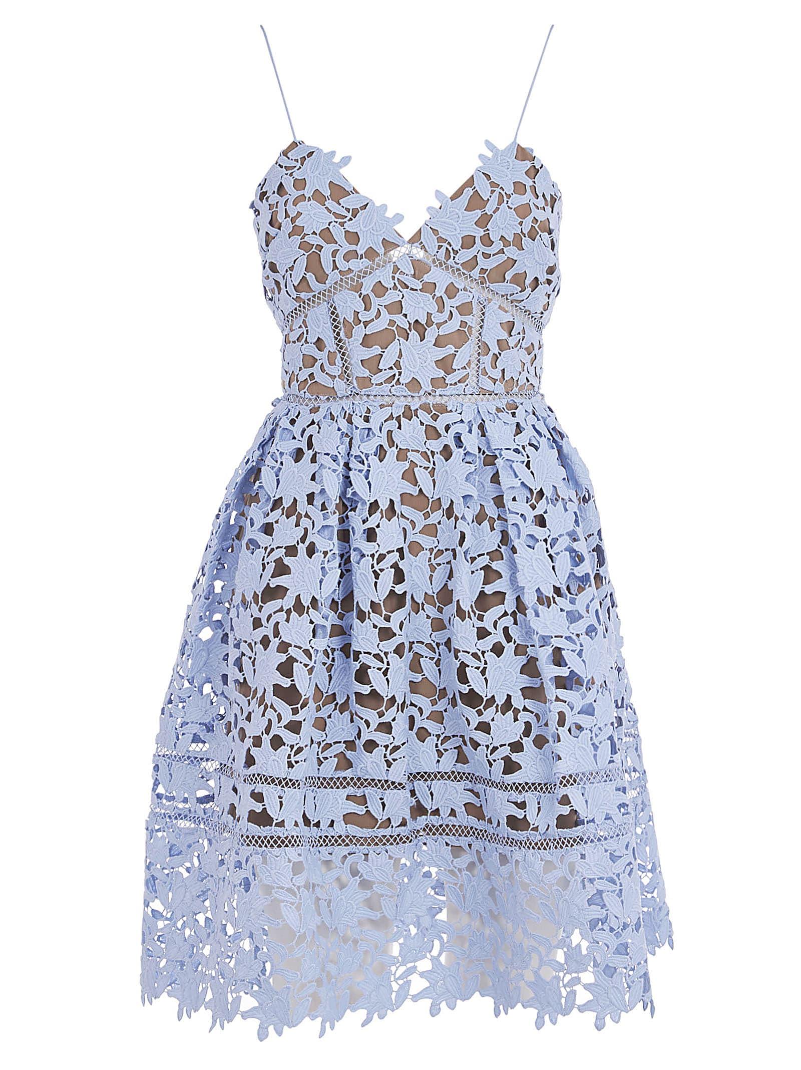 Buy self-portrait Light Blue Mini Azalea Dress online, shop self-portrait with free shipping
