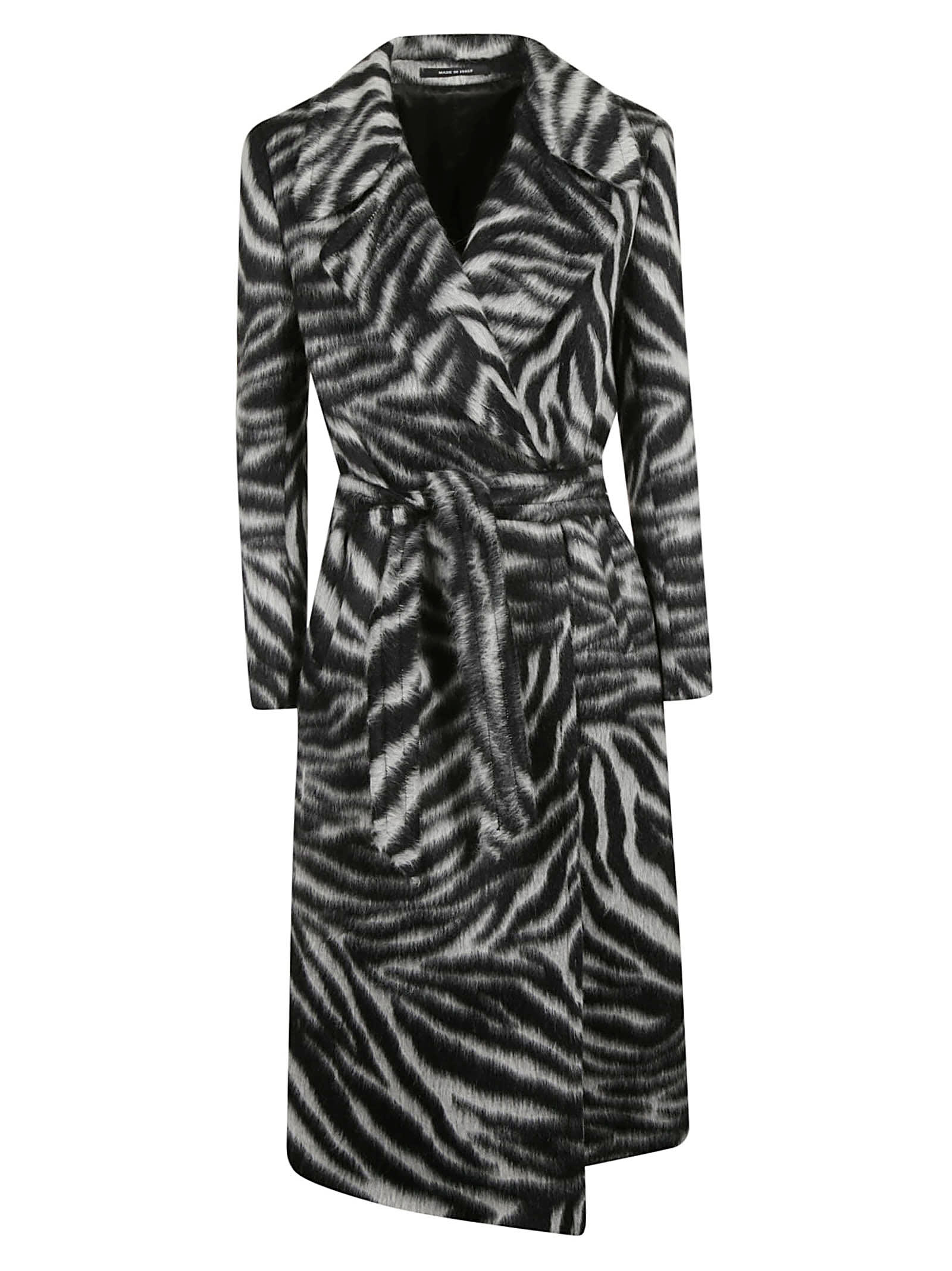 Tagliatore Zebra Print Belted Coat