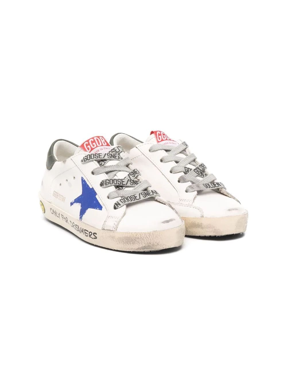 Golden Goose Kids White Super-star Sneakers With Blue Star And Black Spiler