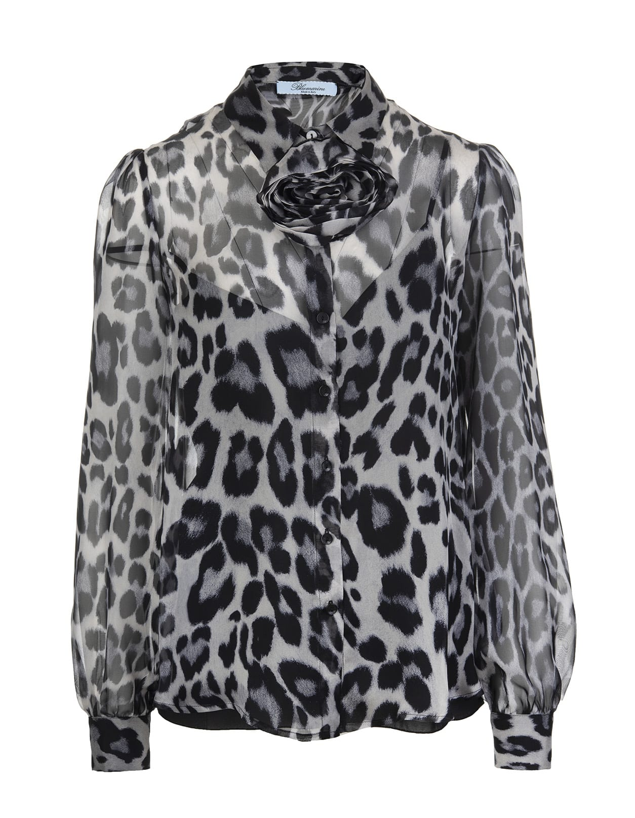 Blumarine GREY AND BLACK ANIMALIER WOMAN SHIRT