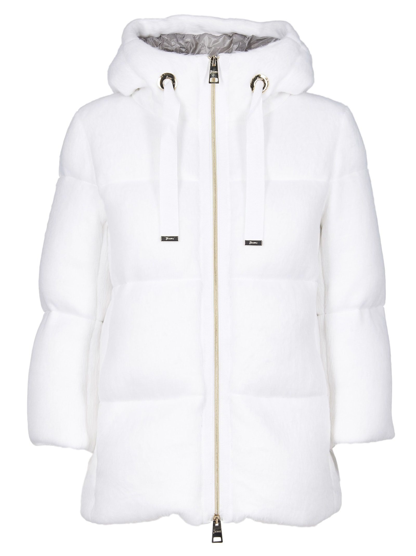 Herno Resort Padded Jacket In White With Teddy Effect