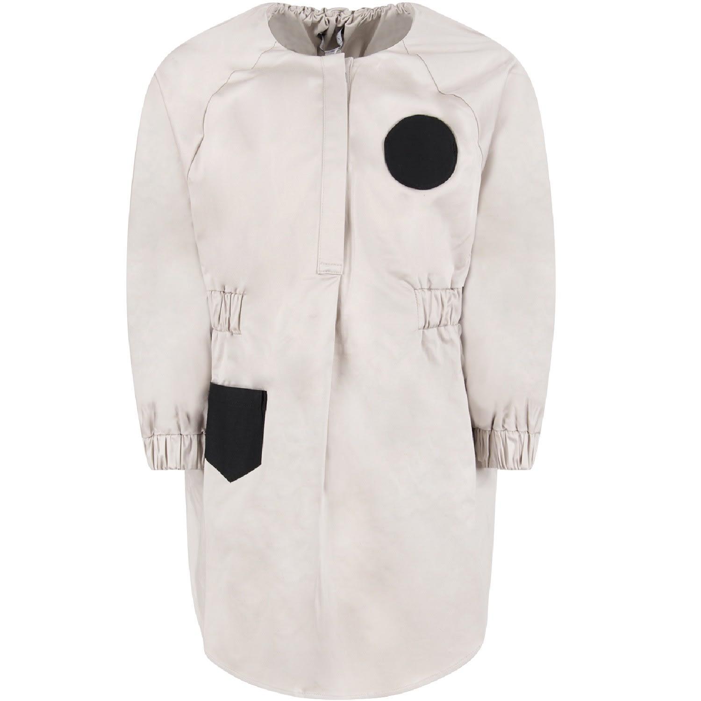 Owa Yurika Grey georgie Girl Dress With Black Pockets