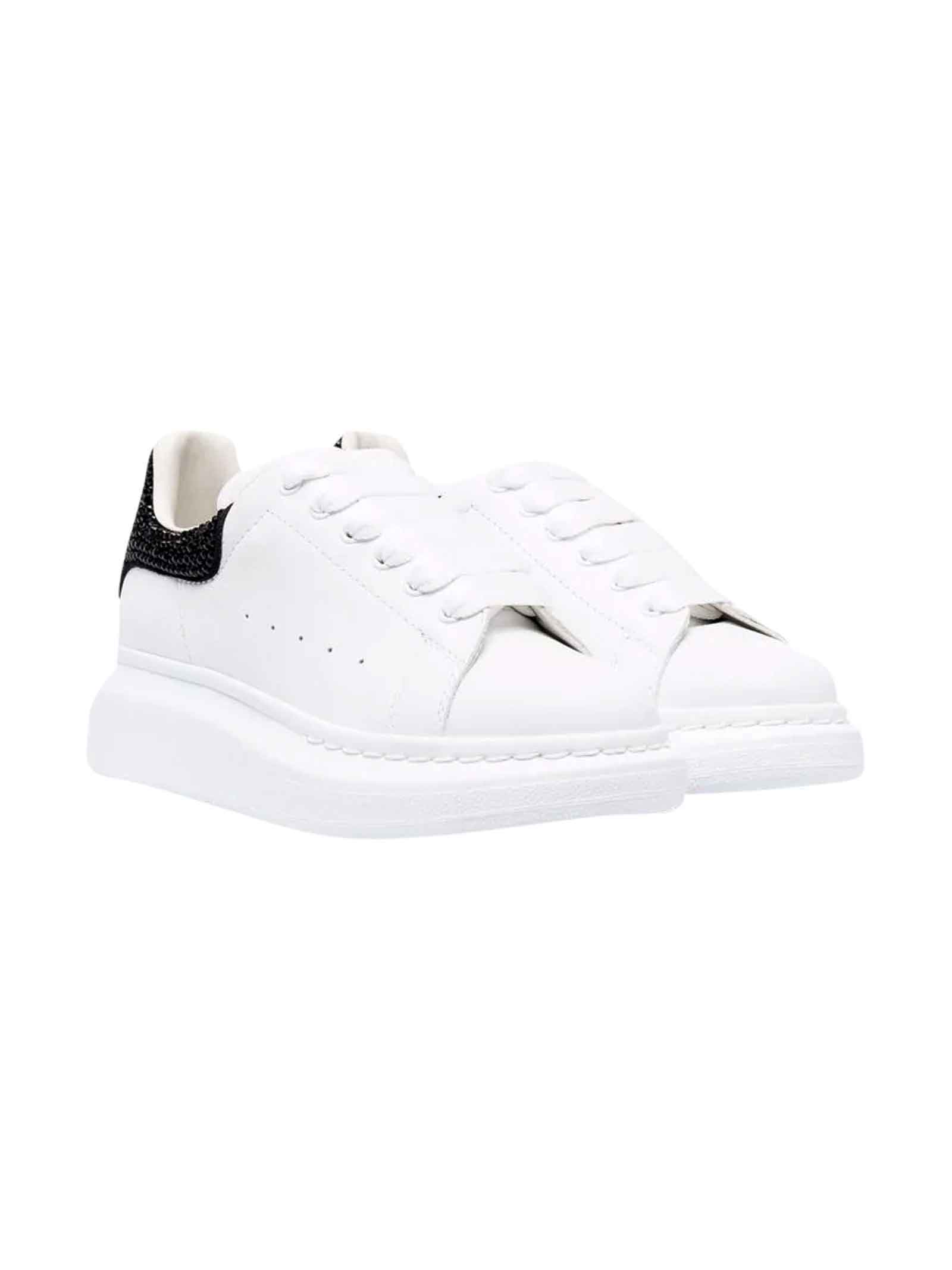 Alexander McQueen White Sneakers With Reinforced Heel, Round Tip And Laces Kids