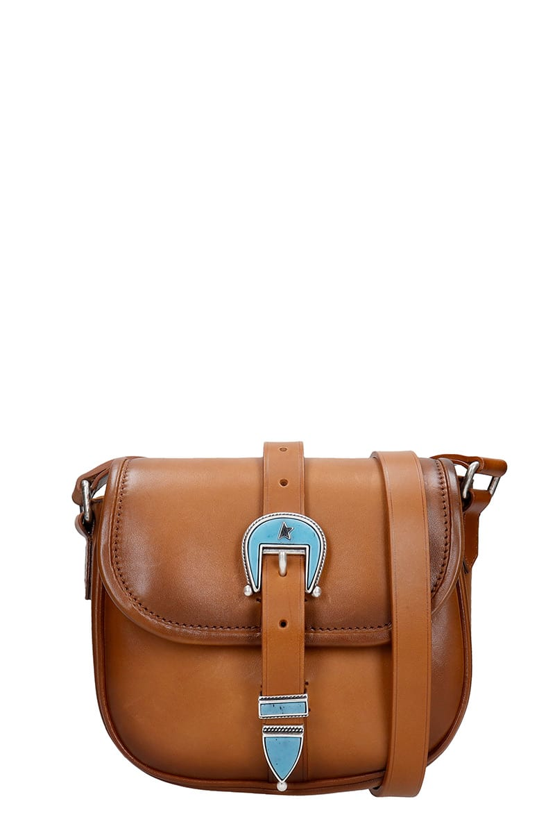 Rodeo Shoulder bag in leather color leather, Height 160 mm, Width 215 mm, Width 215 mm, leather strap, magnetic closure, buckle closure, silver hardware, vintage effectComposition: Leather