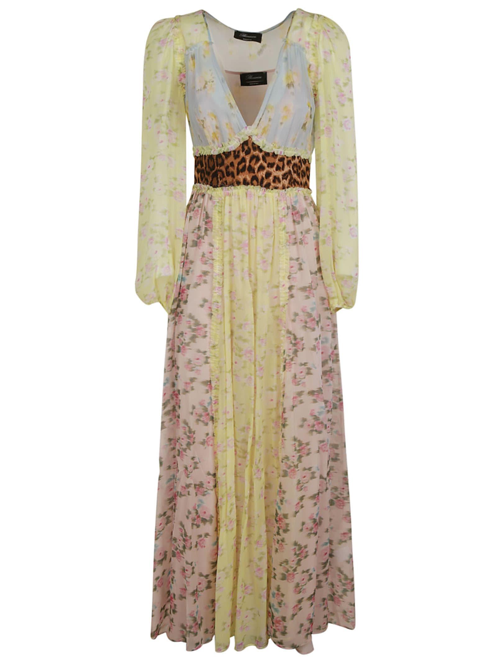 Blumarine Rose Print V-neck Dress