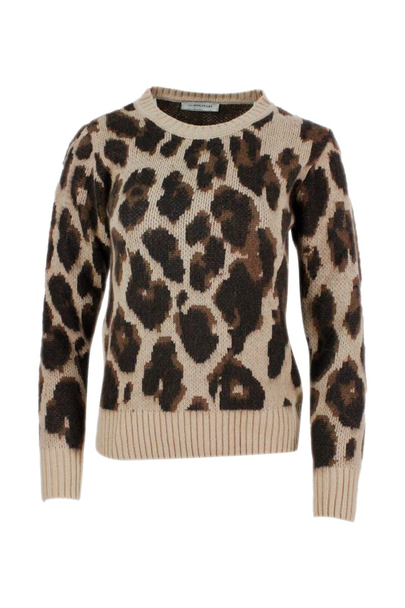 Crewneck Sweater In Wool Blend With Animalier Pattern