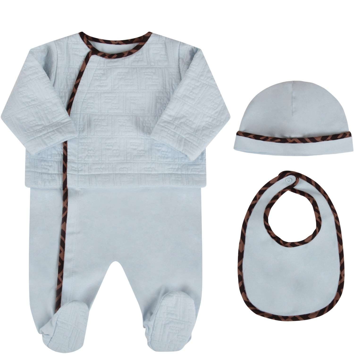 Fendi LIGHT BLUE BABYBOY SET WITH DOUBLE FF