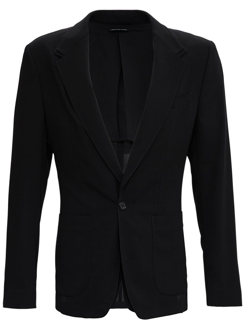 Dolce & Gabbana Single Breasted Blazer In Black Wool With Double Layering Design