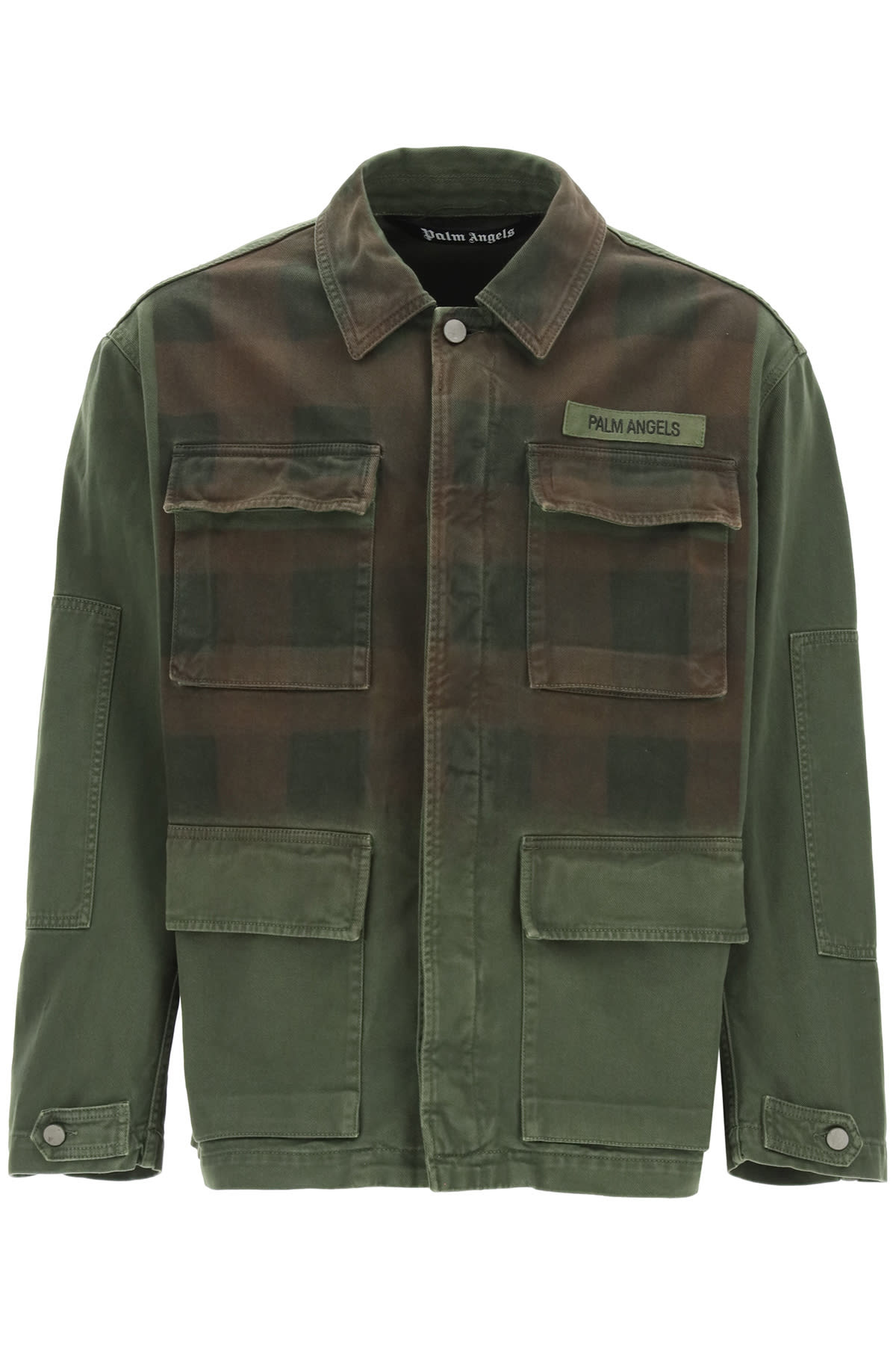 Palm Angels MILITARY BUFFALO JACKET WITH LOGO PRINT
