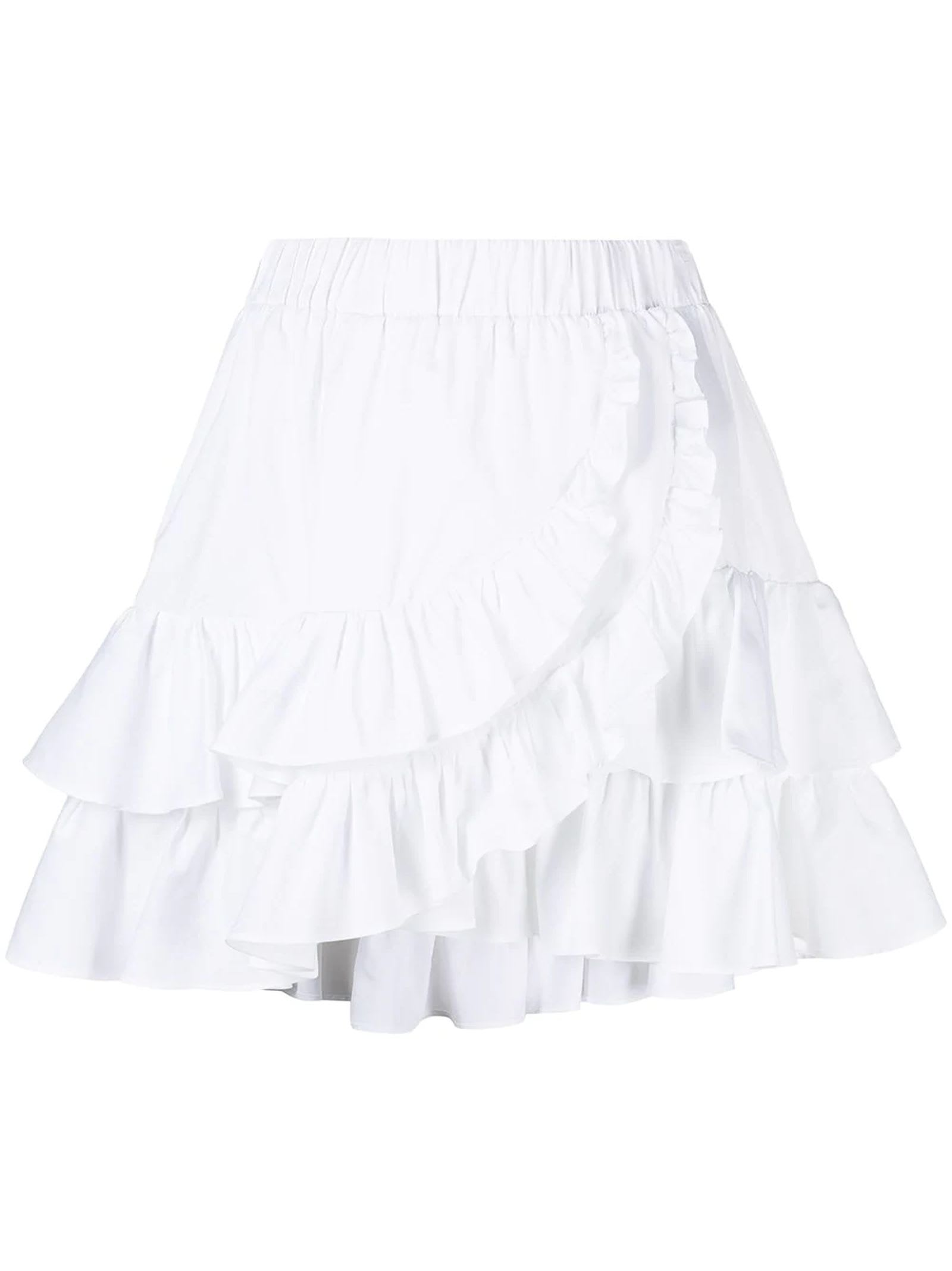 Federica Tosi WHITE COTTON AND SILK BLEND SKIRT