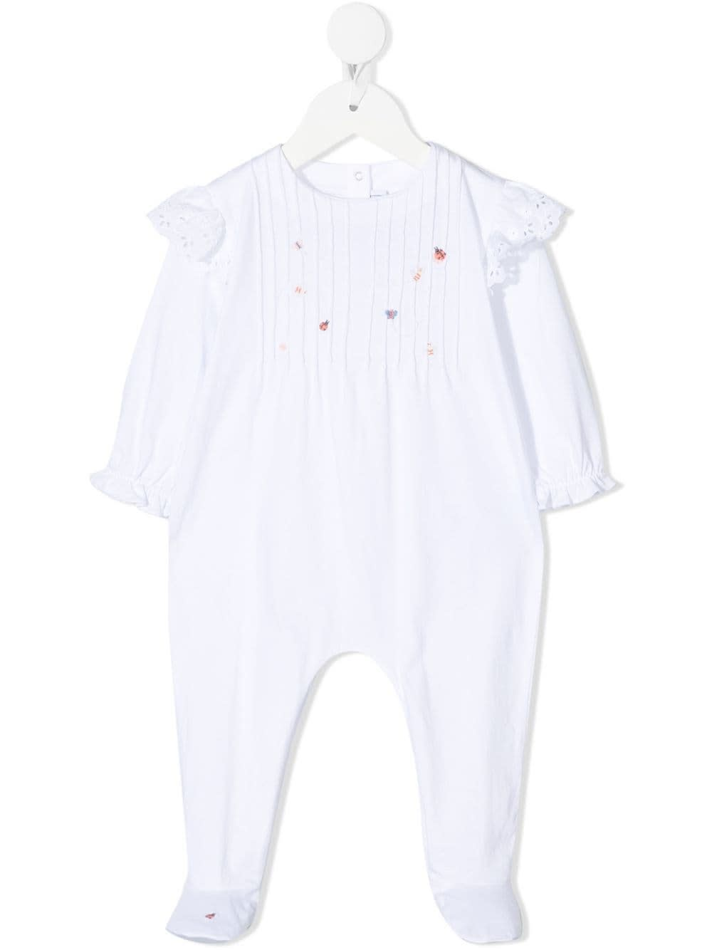 Tartine Et Chocolat Jumpsuits WHITE COTTON ROMPER WITH EMBROIDERY
