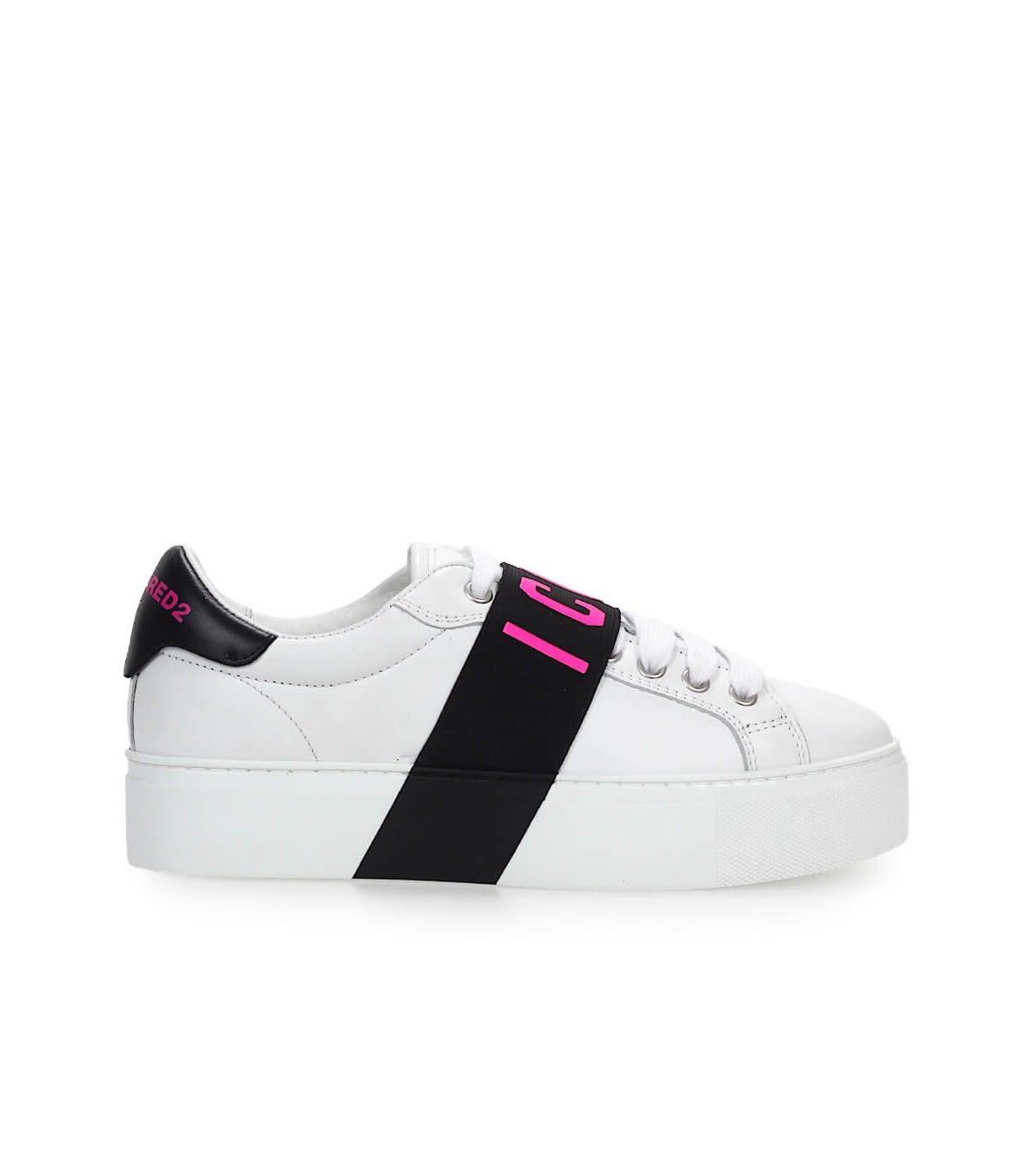 Dsquared2 White Fuchsia Fuchsia Icon Sneaker