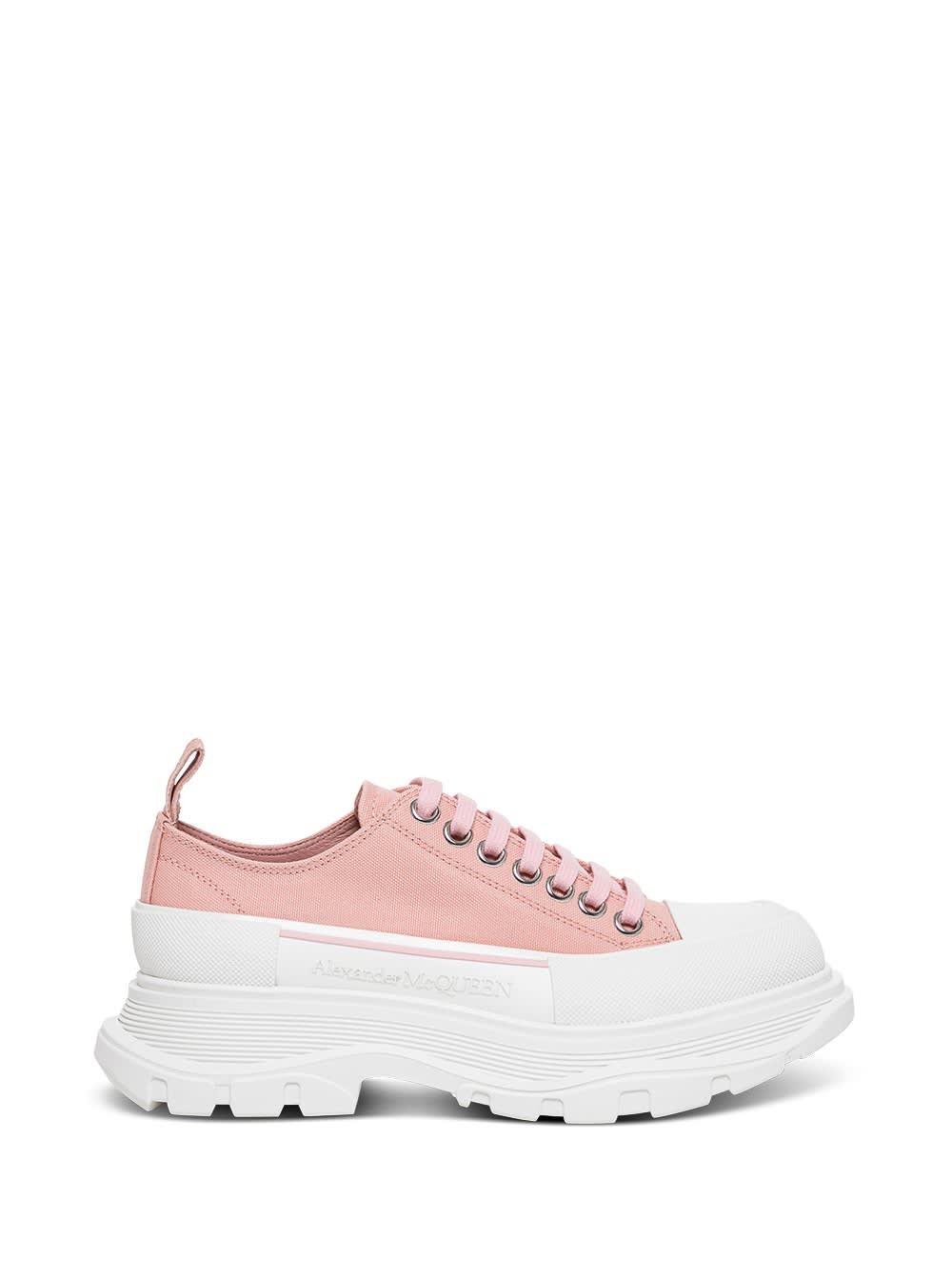 Alexander McQueen Tread Slick Sneakers In Pink Canvas