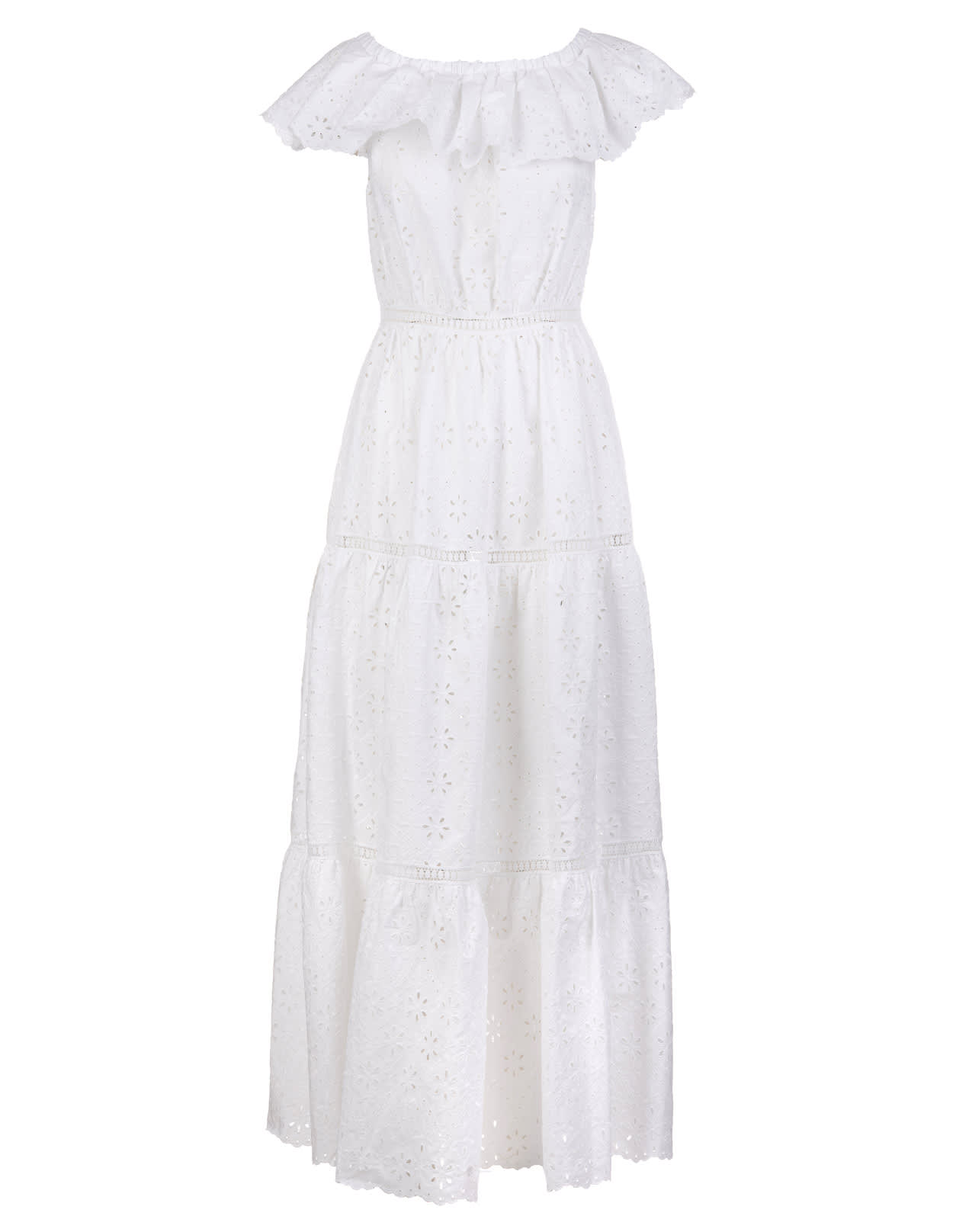 Buy Parosh Broderie Anglaise Flared Dress online, shop Parosh with free shipping