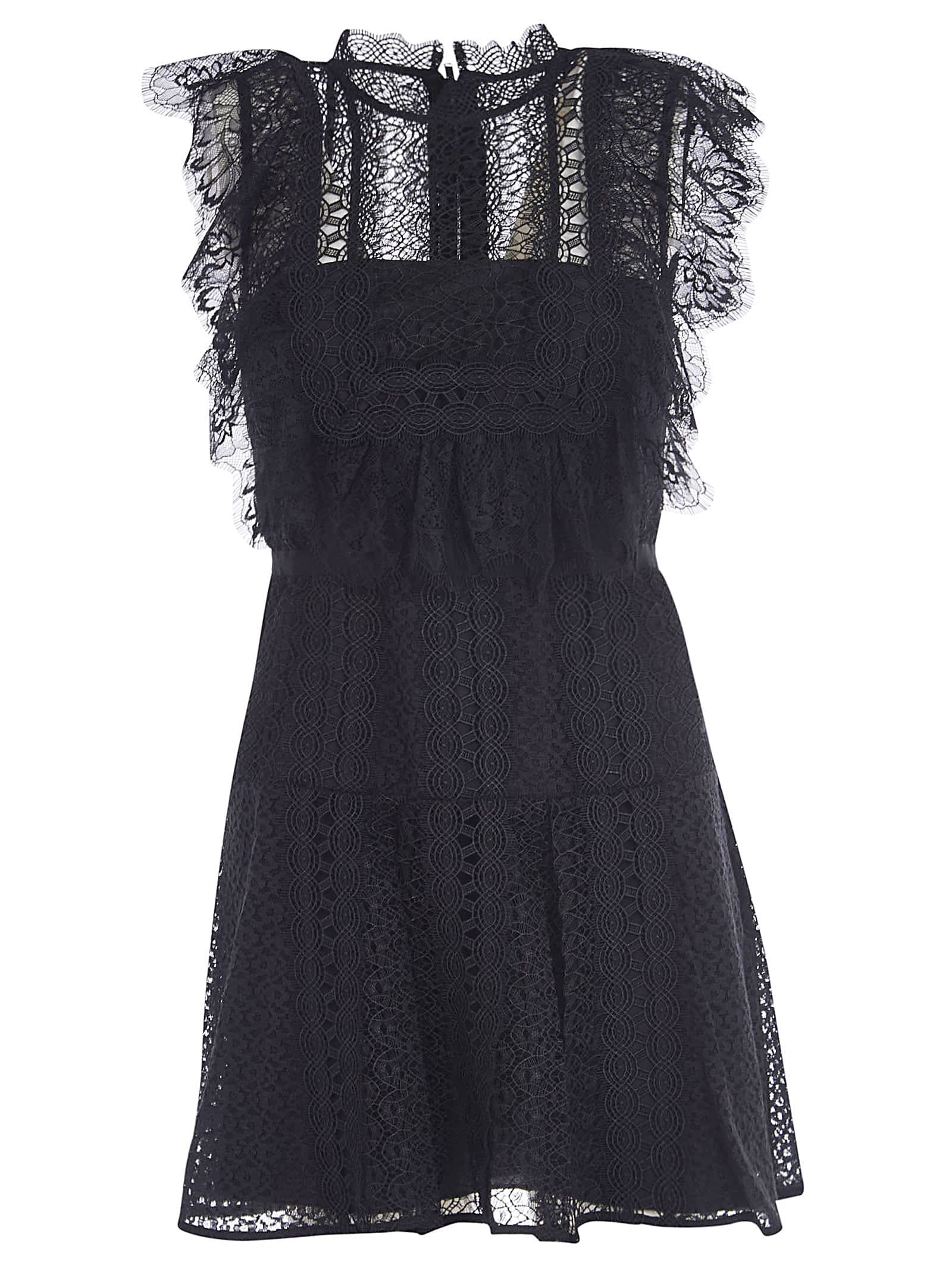 Buy self-portrait Black Lace Panel Mini Dress online, shop self-portrait with free shipping