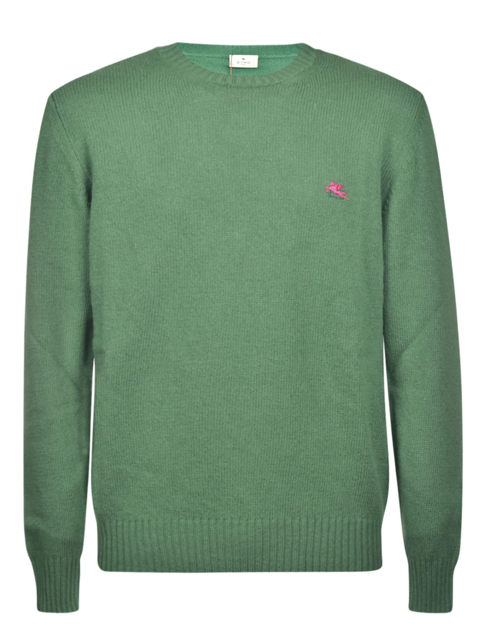 Etro Round Neck Sweater In Light Green