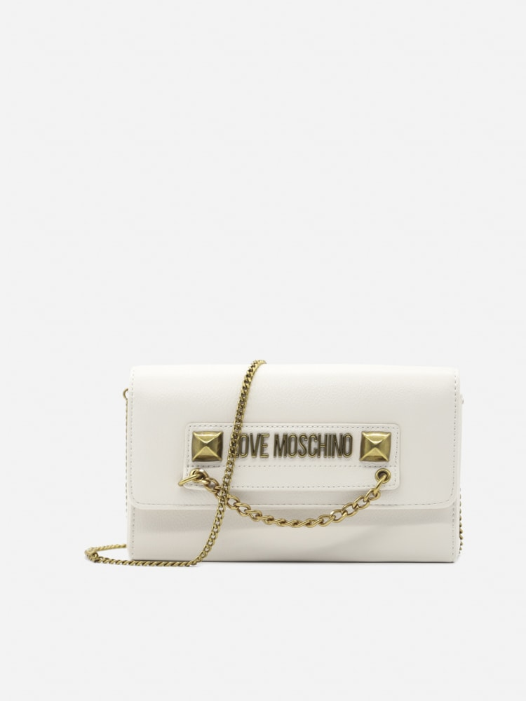 Love Moschino Shoulder Bag With Contrasting Logo Lettering In White
