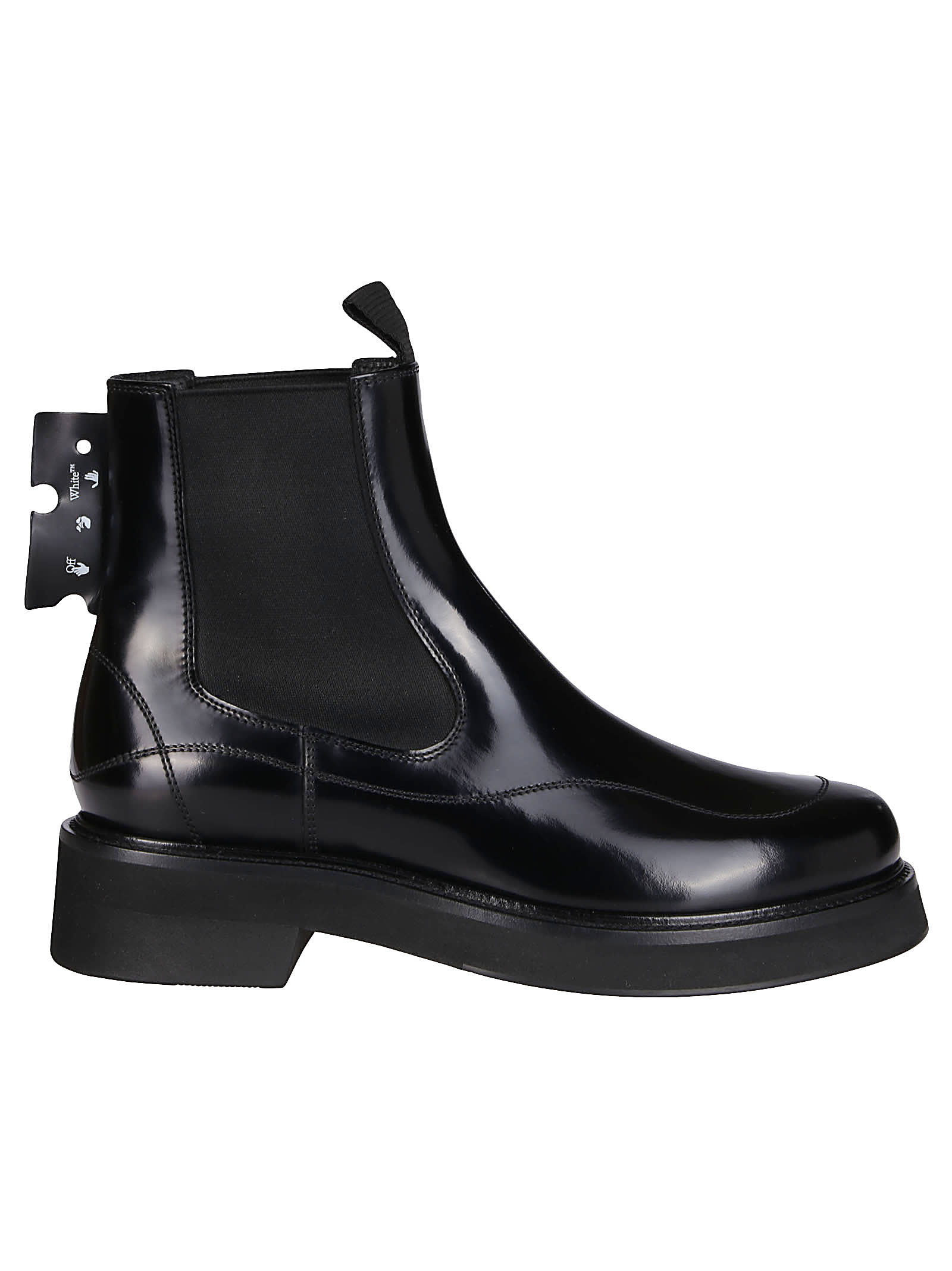 Off-White Black Leather Chelsea Boots