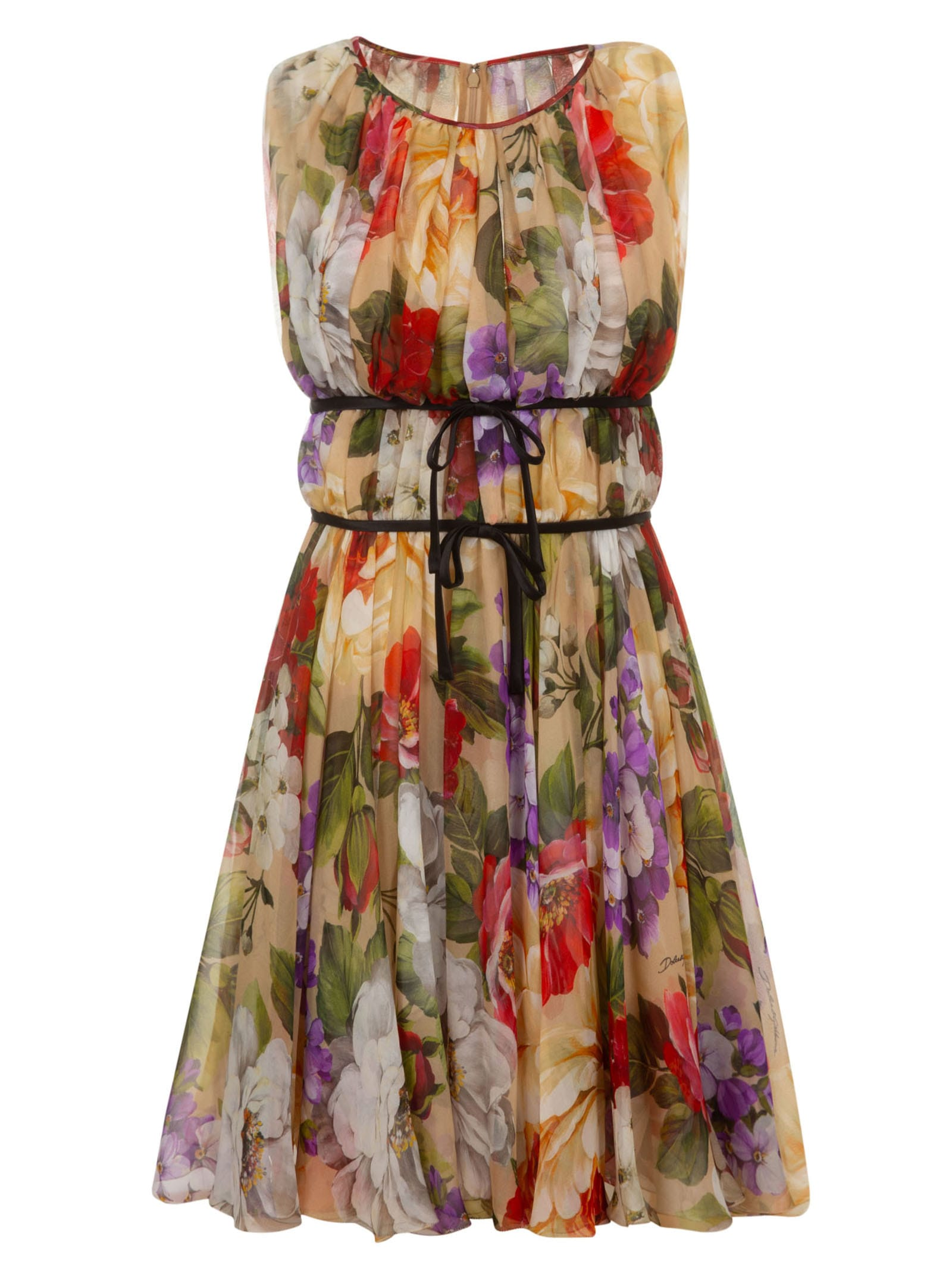 Buy Dolce & Gabbana Floral Print Sleeveless Dress online, shop Dolce & Gabbana with free shipping