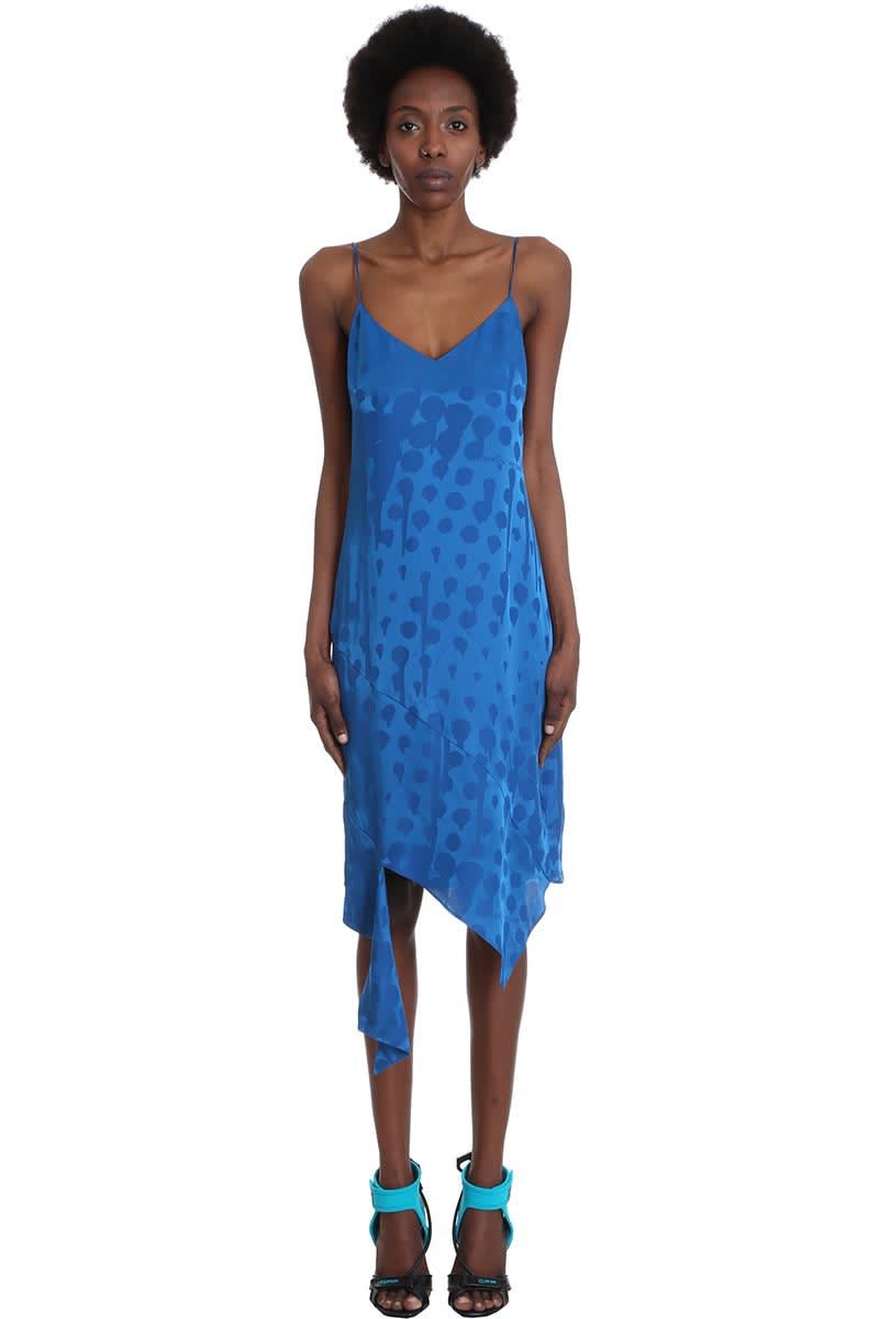 Buy Off-White Jacquard Spiral Dress In Blue Viscose online, shop Off-White with free shipping