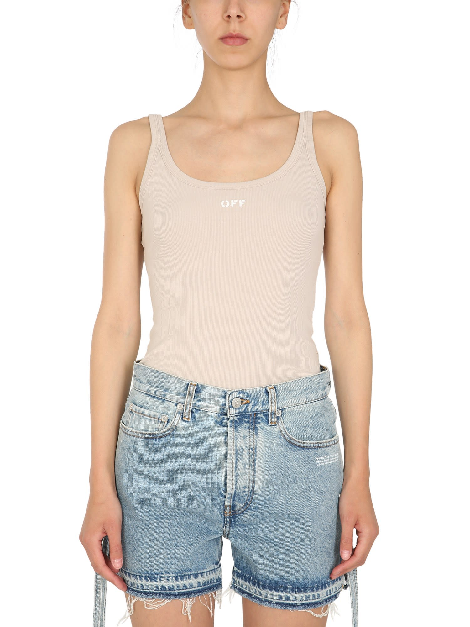 Off-White RIBBED TANK TOP