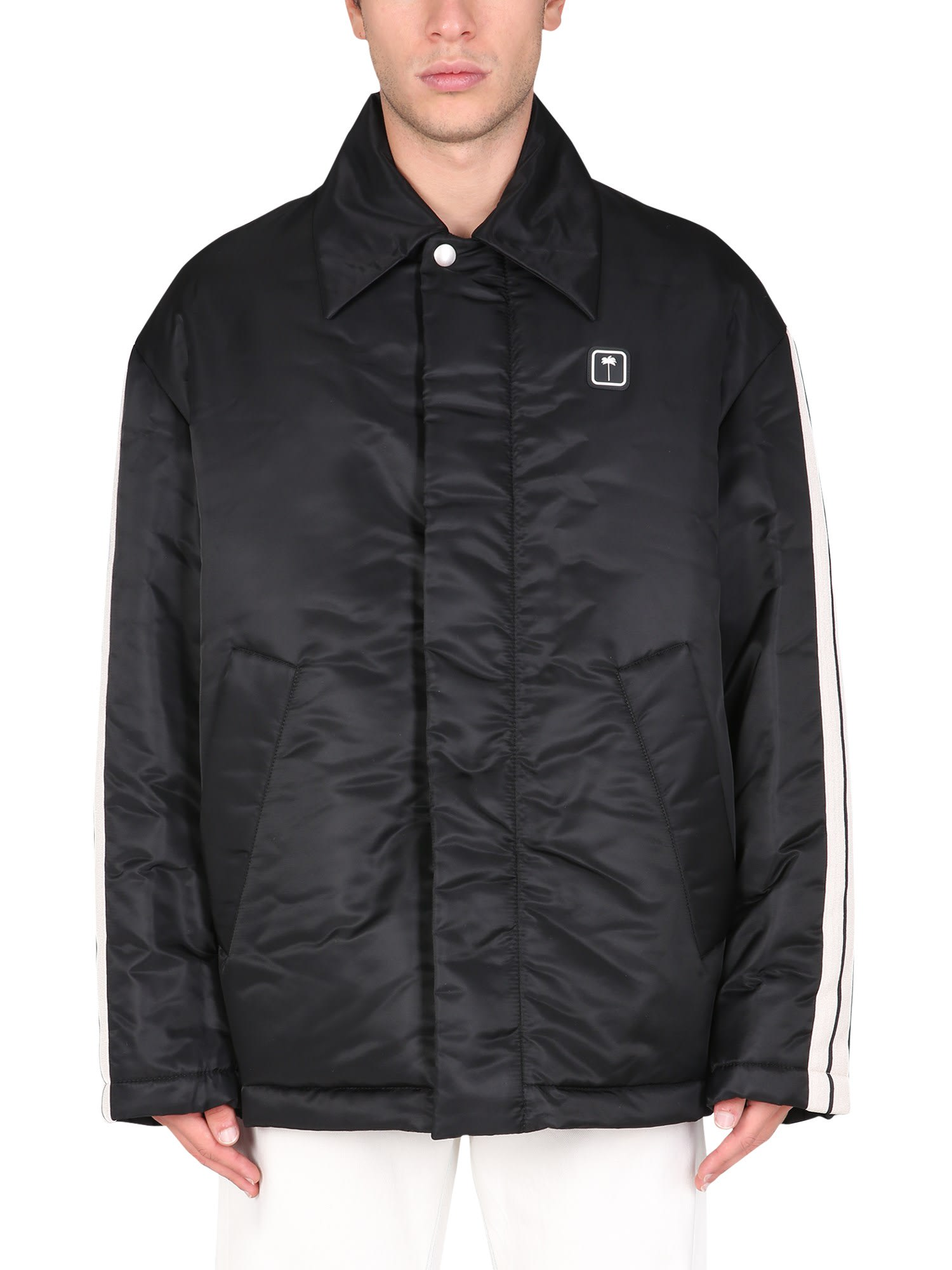 Palm Angels Down Jacket With Logo Patch