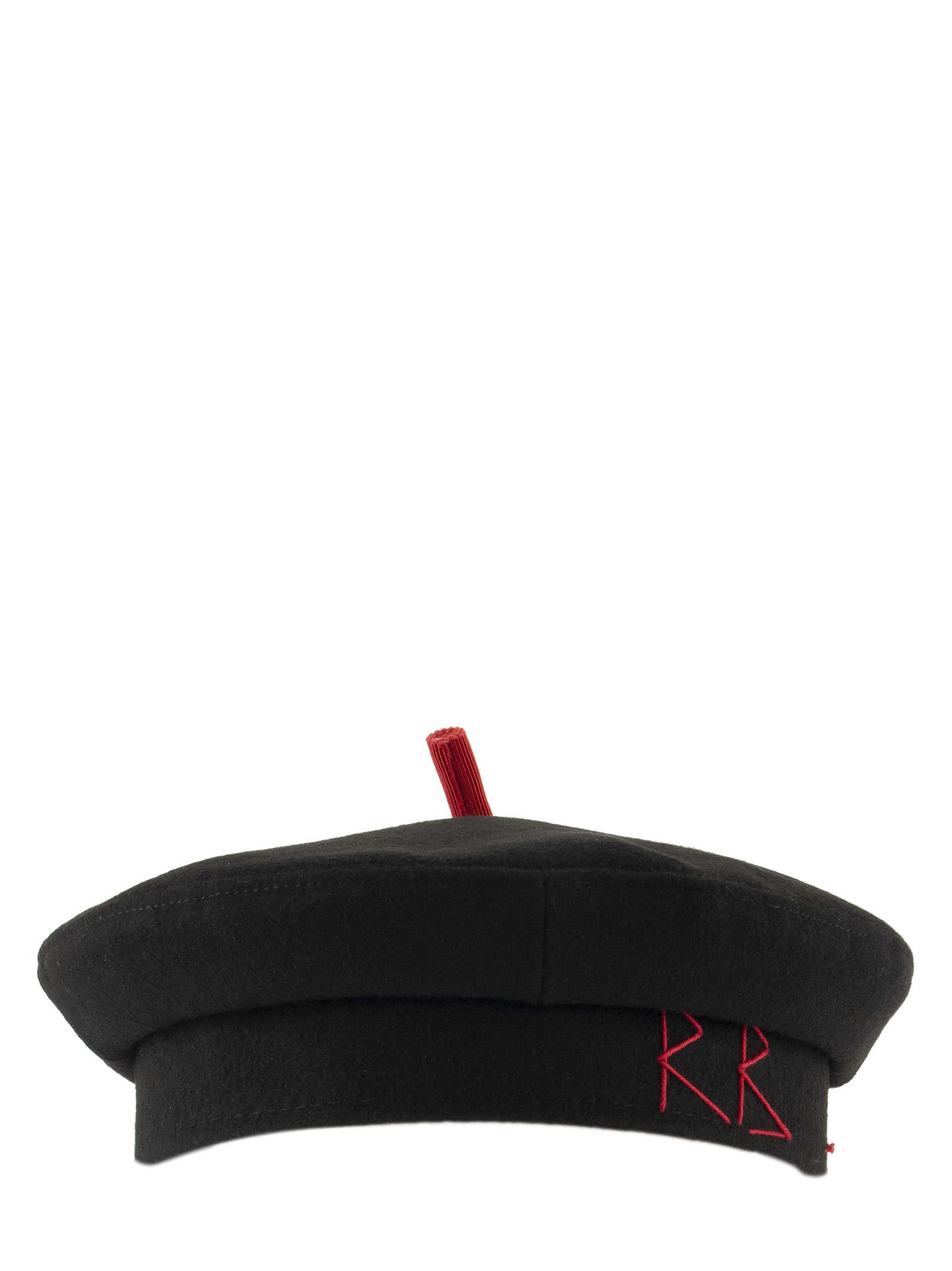 Ruslan Baginskiy Black Barret Wool Cap With Red Details / Hat