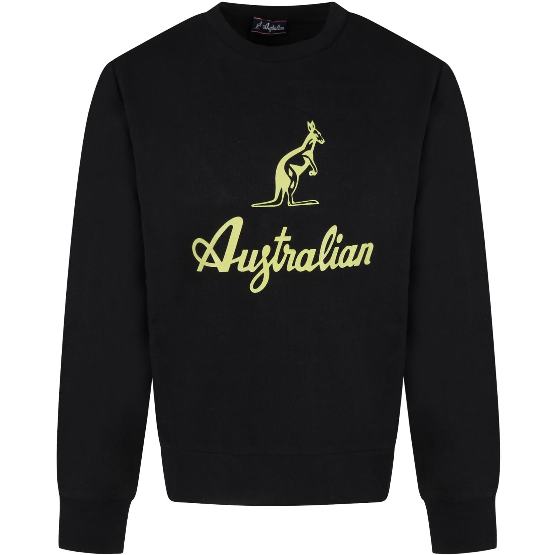 Black Sweatshirt For Boy With Green Logo