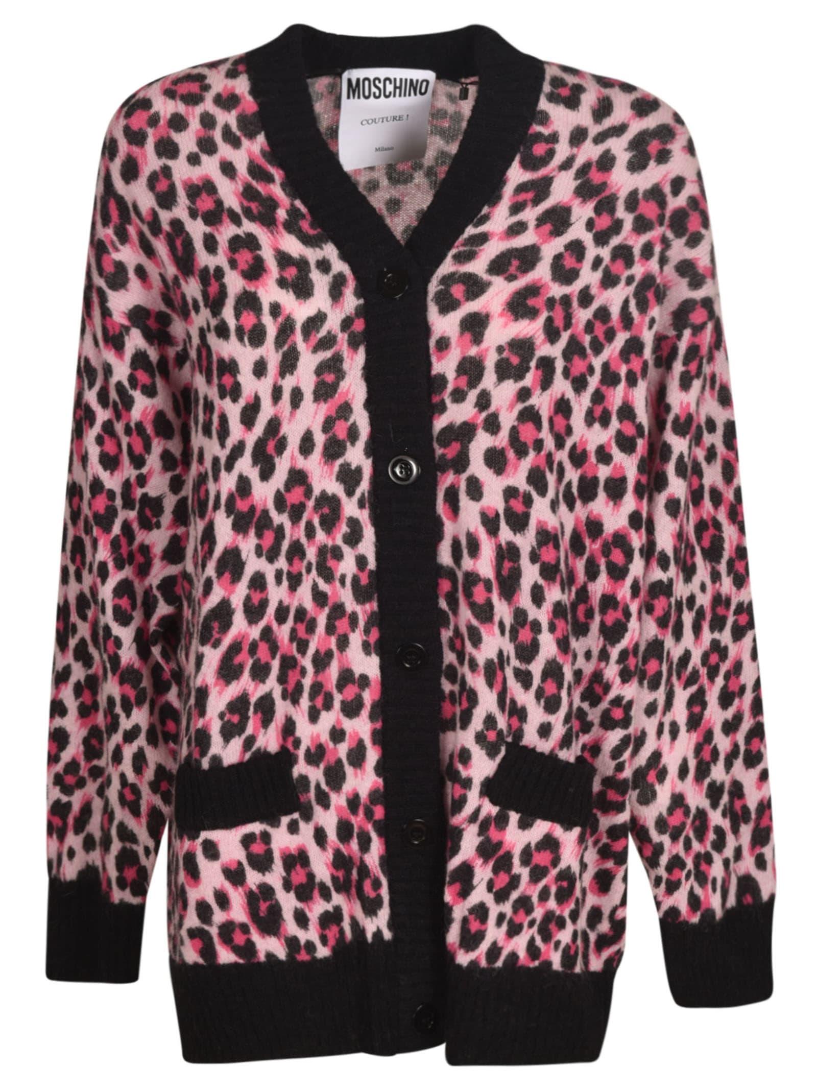 Moschino Leopard Cardigan In Fuchsia/black