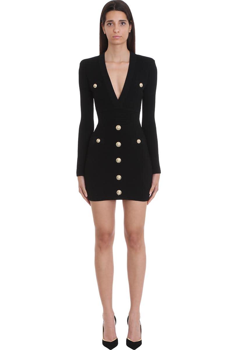 Balmain Dress In Black Wool