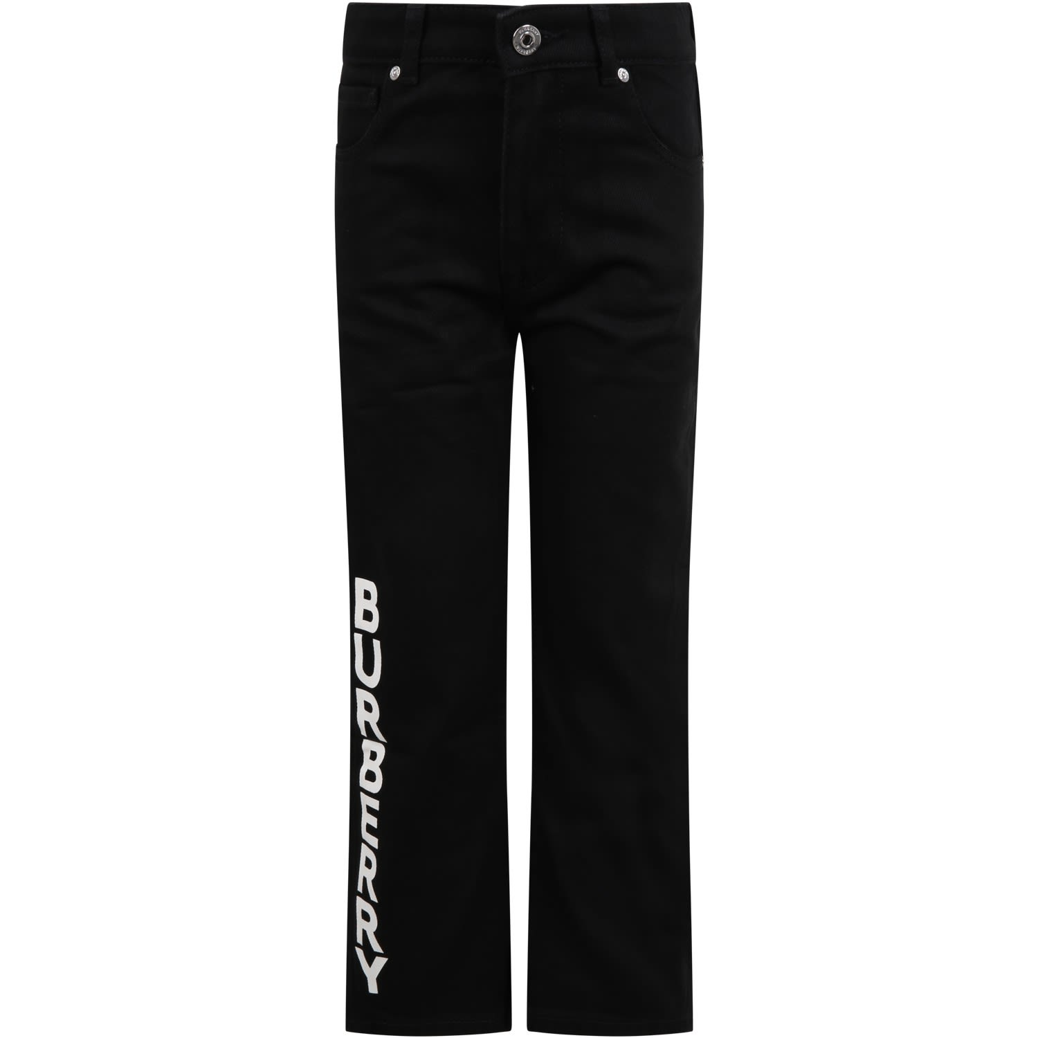Burberry Black Jeans For Kids With Logo