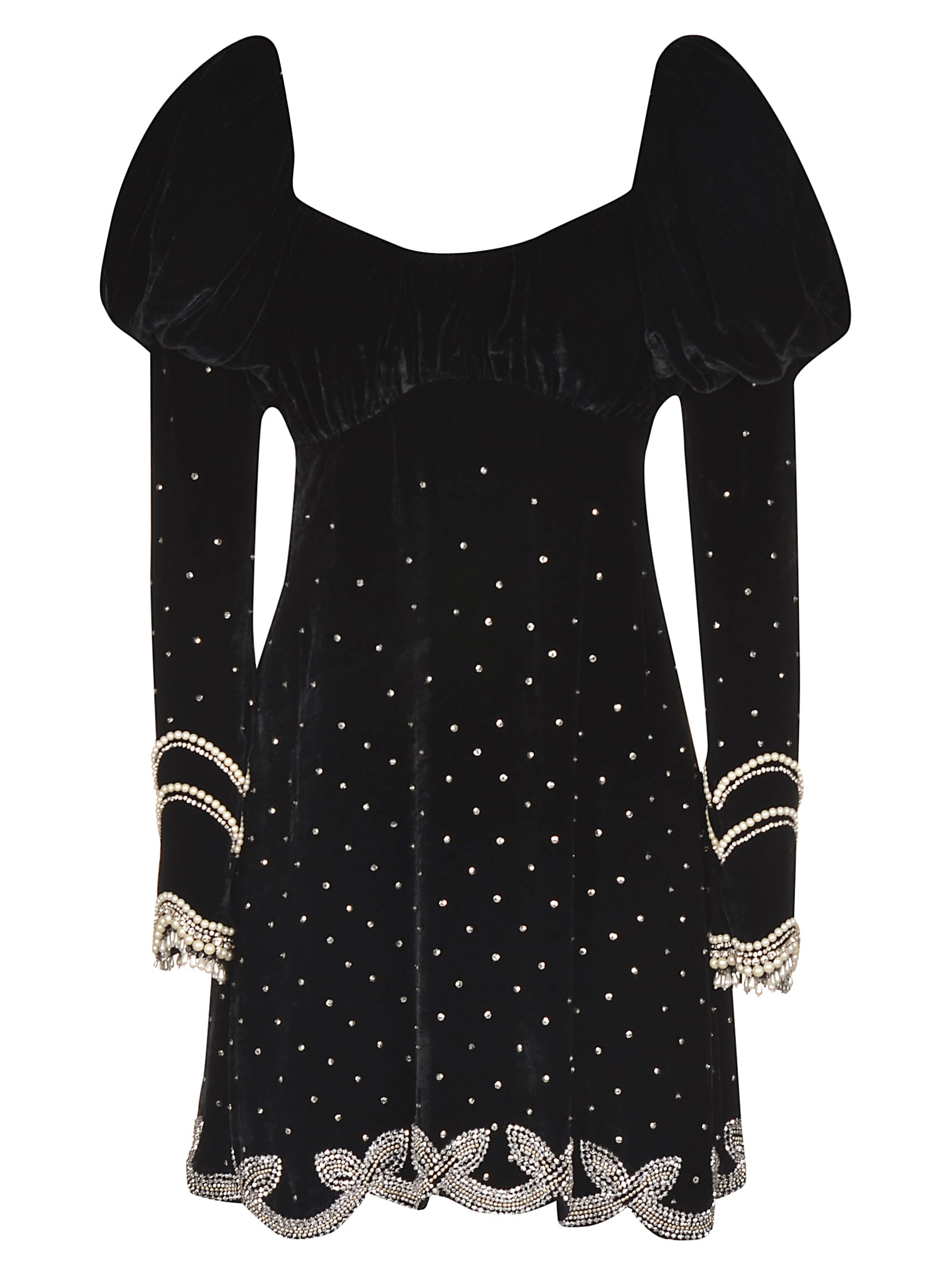 WANDERING Velvet Embellished Dress