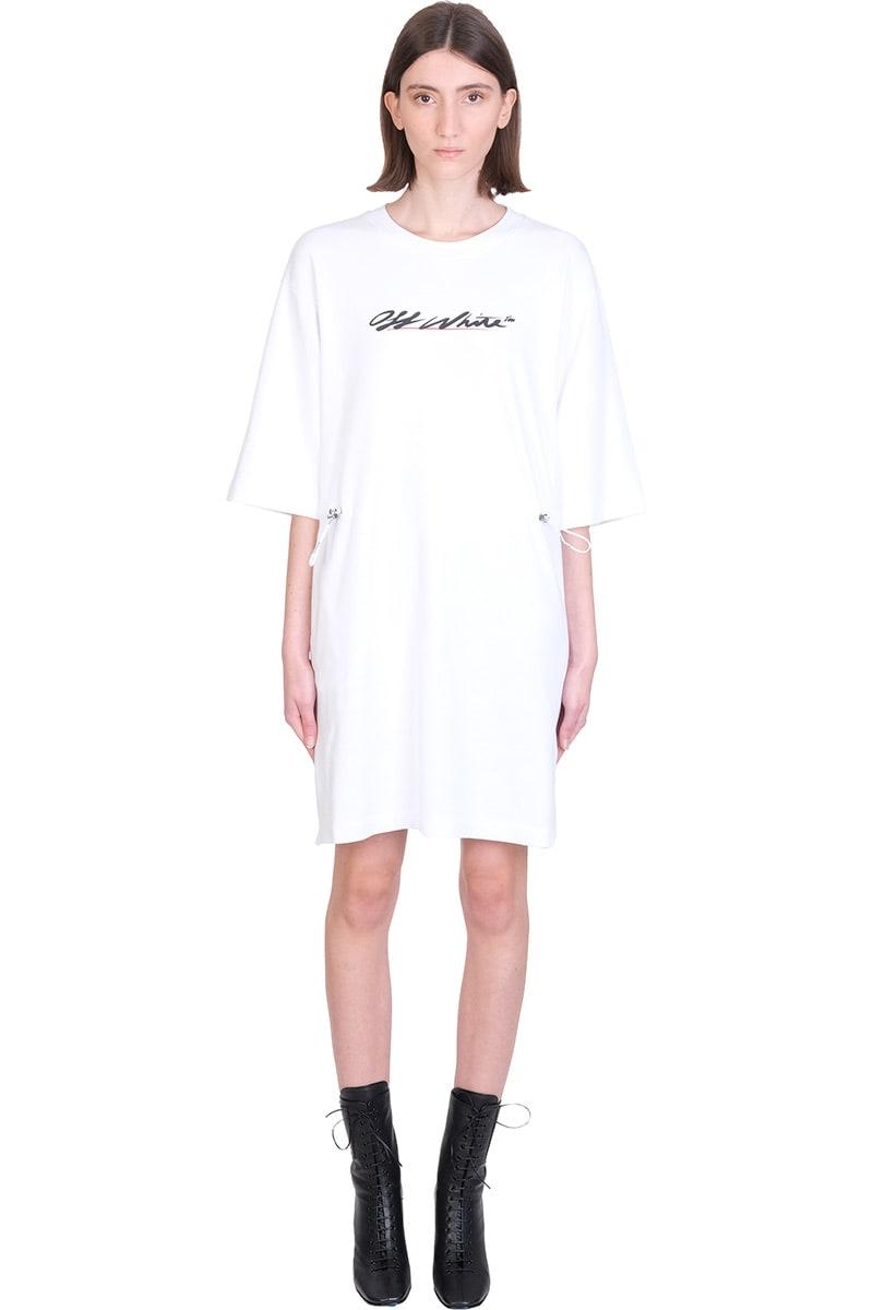 Off-White New Script Logo Dress In White Cotton