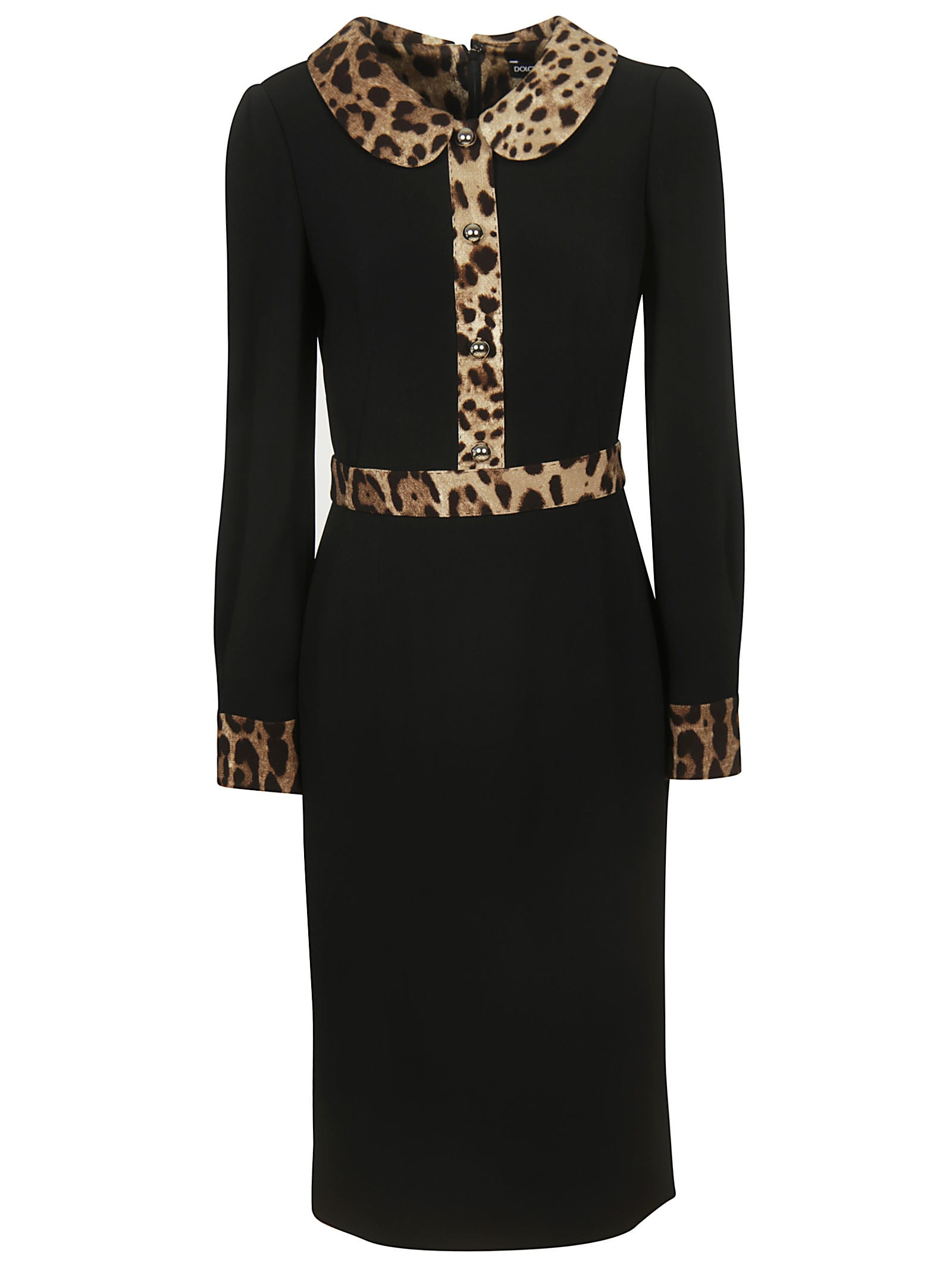 Dolce & Gabbana Leopard Trim Long Dress