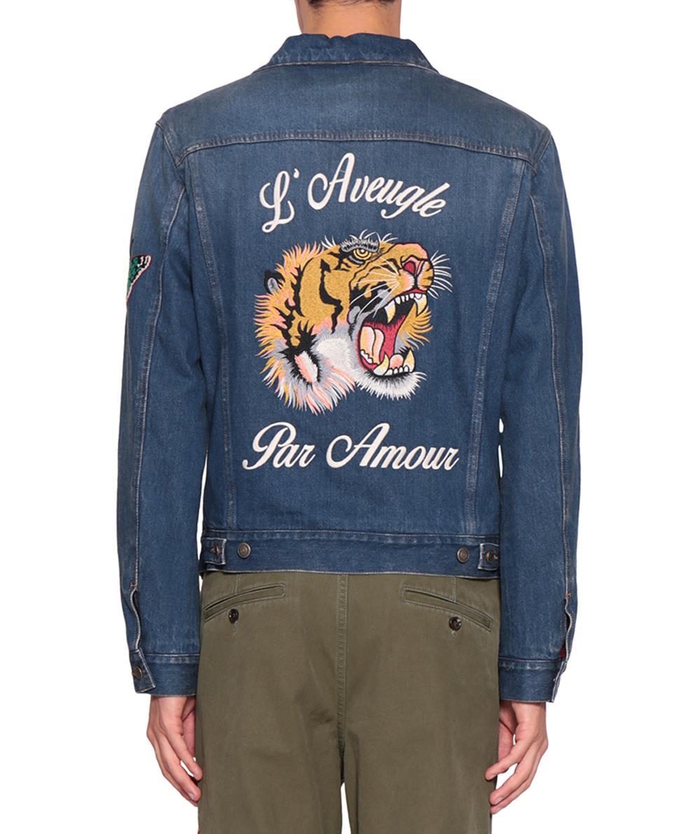 42c507171 Gucci Gucci L'aveugle Par Amour Denim Jacket - Blu - 10626072   italist