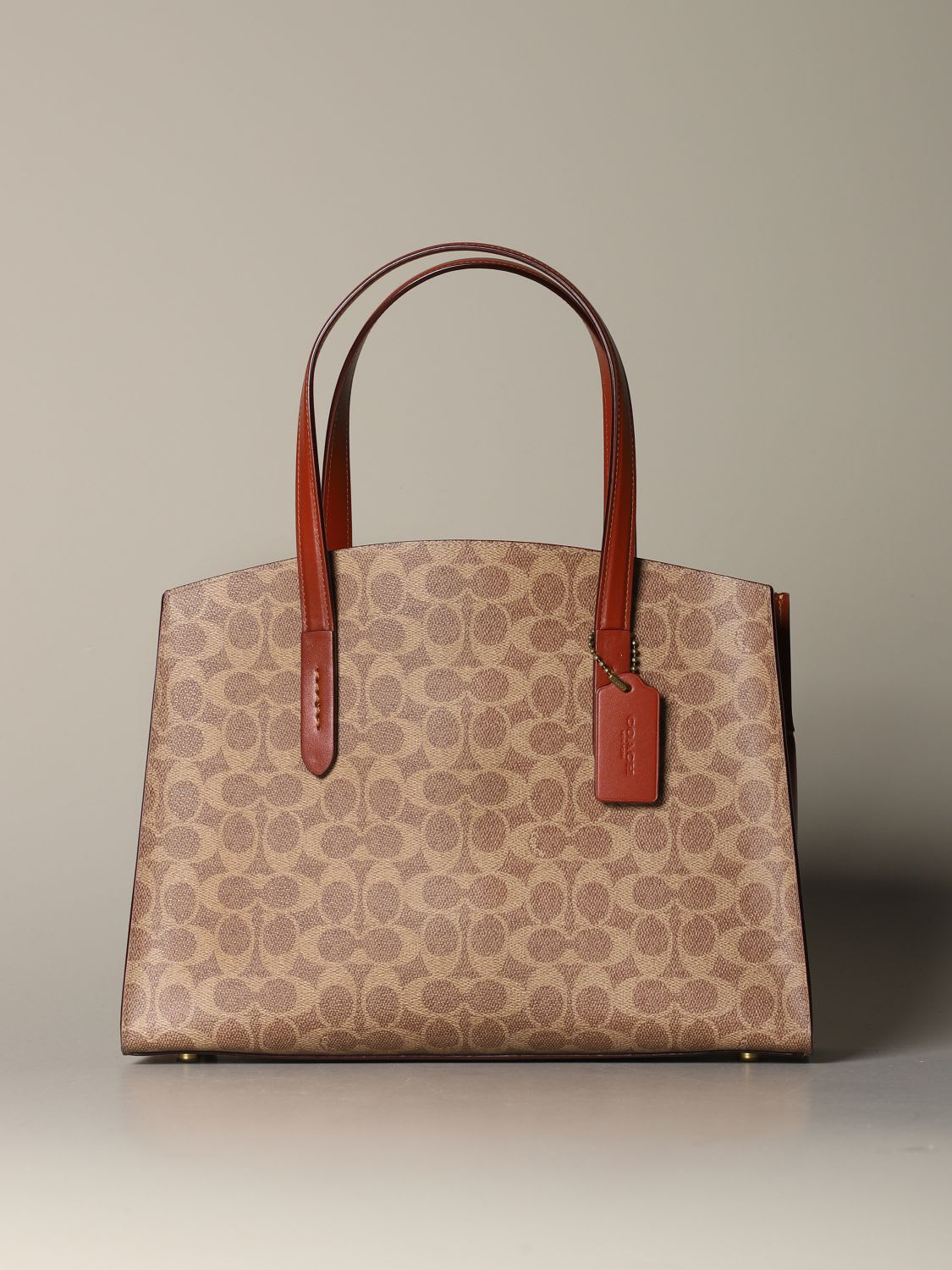 Coach Tote Bags Charlie Coach Bag In Logoed Canvas And Leather