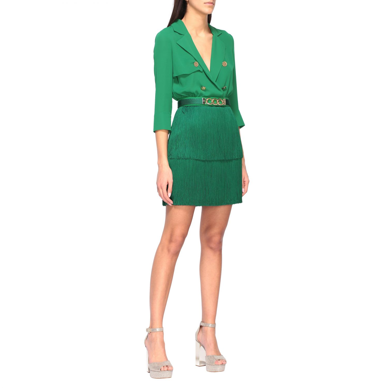 Buy Elisabetta Franchi Dress Elisabetta Franchi Dress With Blouse And Fringed Skirt online, shop Elisabetta Franchi Celyn B. with free shipping