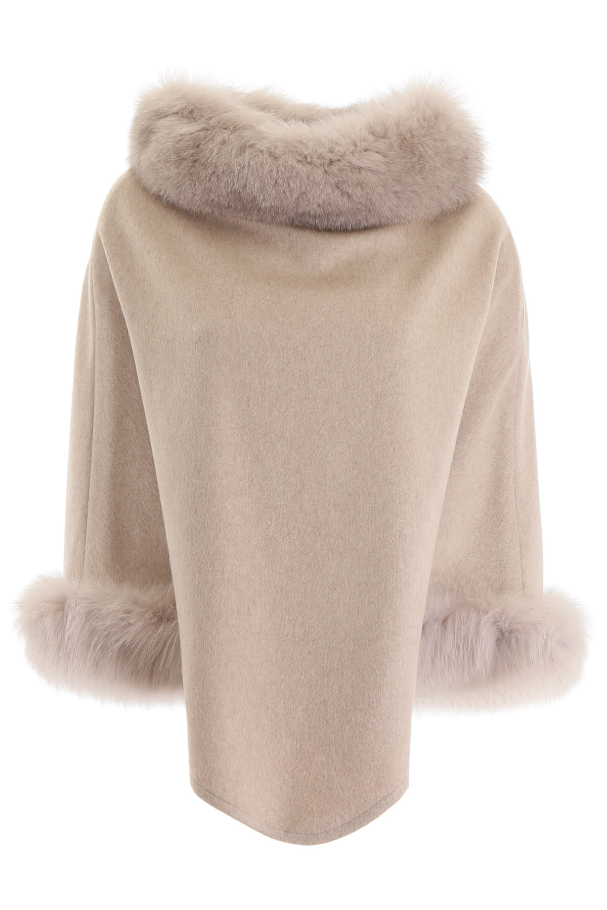 Max Mara Poncho With Fox Fur