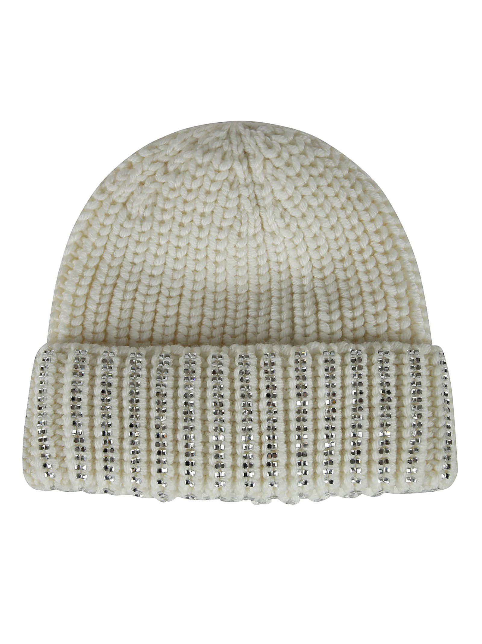 Ermanno Scervino Crystal Embellished Knit Beanie In White