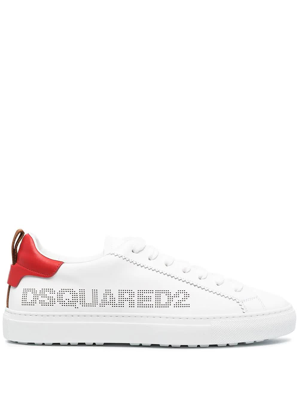 Dsquared2 Leathers MAN WHITE AND RED SAN DIEGO SNEAKERS