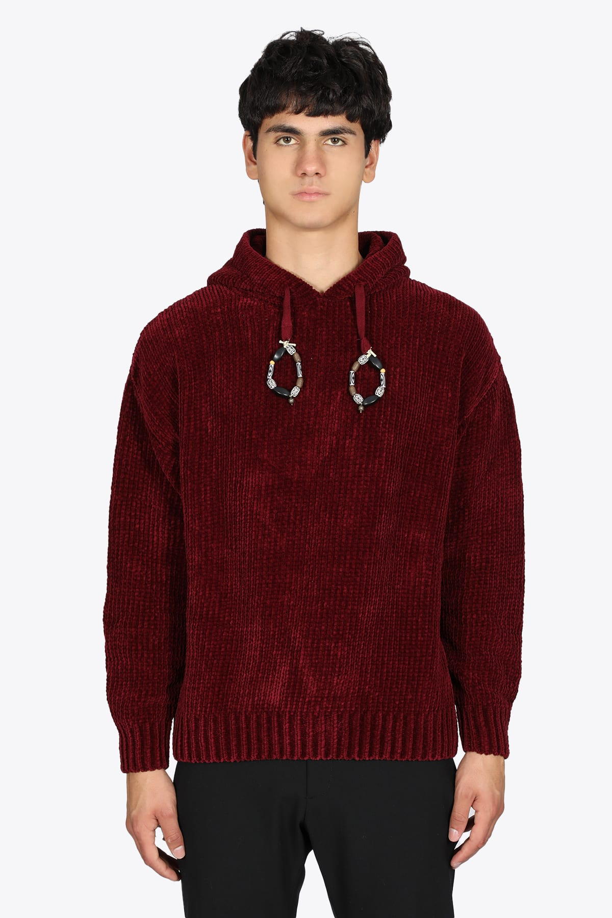 Rib Knit Burgundy Cenille Hooded Sweater