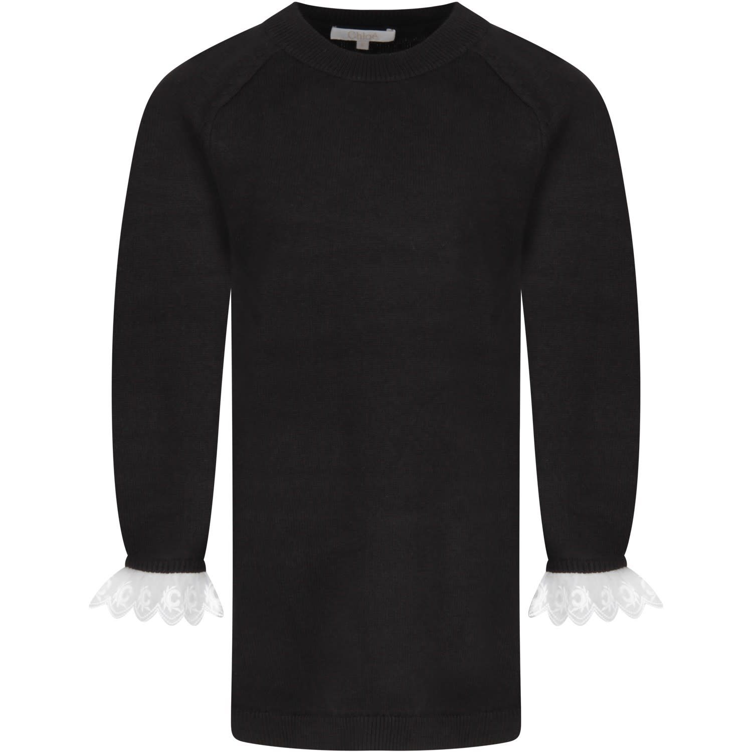 Color: Black Black dress, with long sleeves and ribbed crew-neck. It is embellished with white details with embroidered iconic C, on the cuffs. 90% Cotton 10% Wool. Machine wash at 30°C.