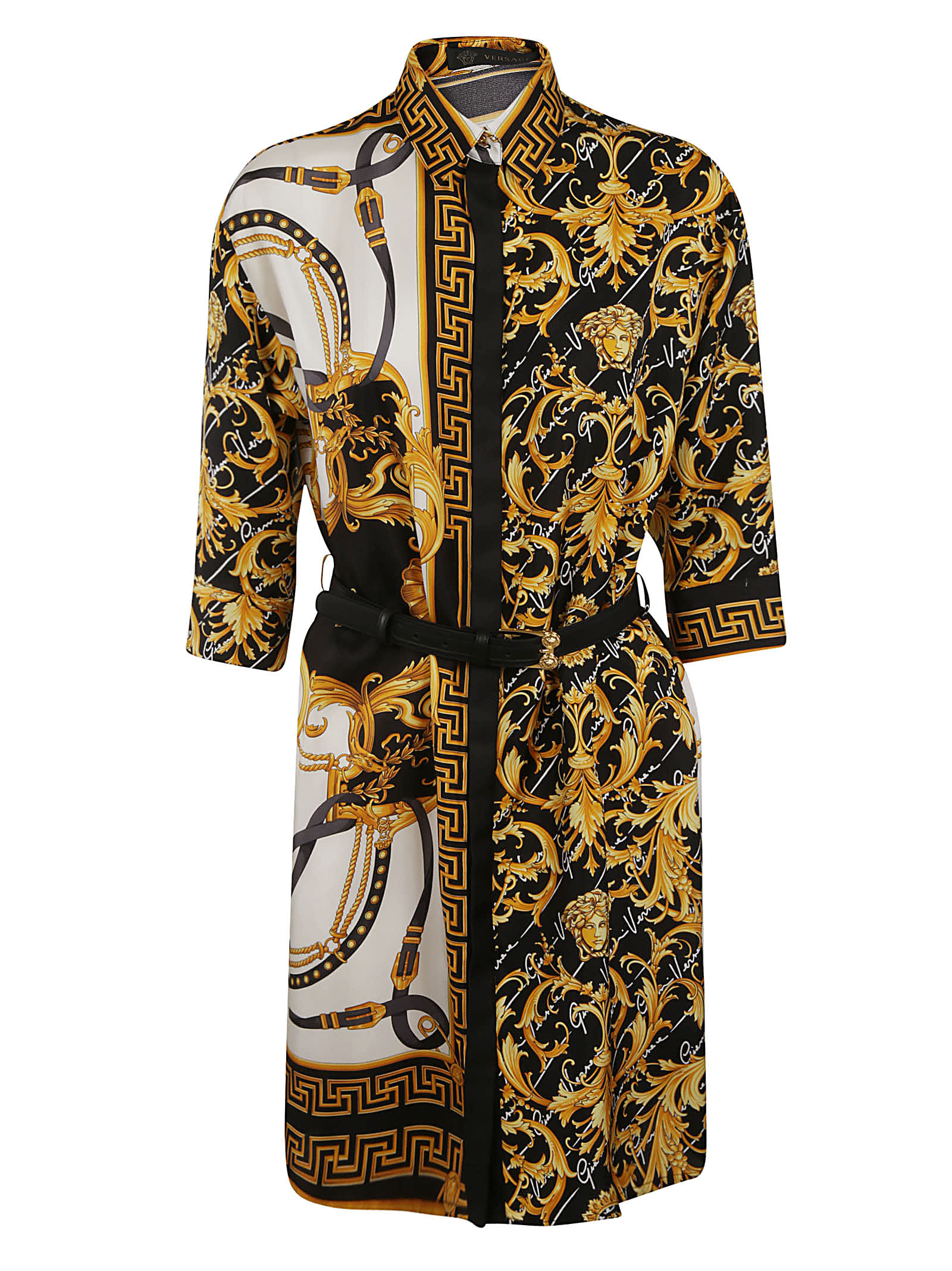 Buy Versace Contrast Detail Print Belted Dress online, shop Versace with free shipping