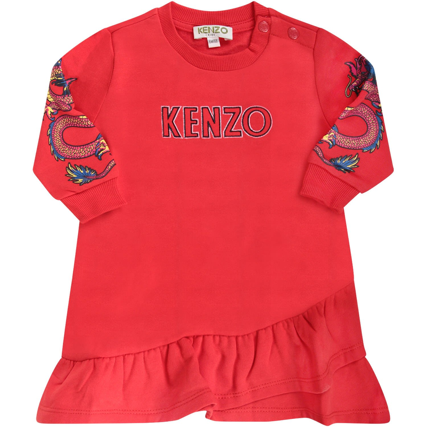 Kenzo Kids Red Babygirl Dress With Logo And Japanese Dragons