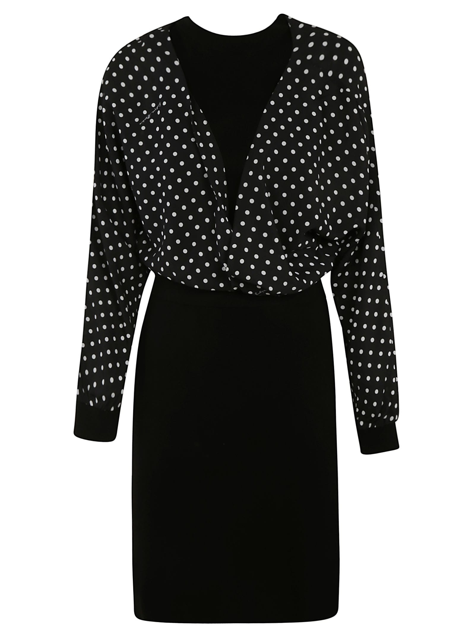 Buy Moschino Dotted V-neck Dress online, shop Moschino with free shipping
